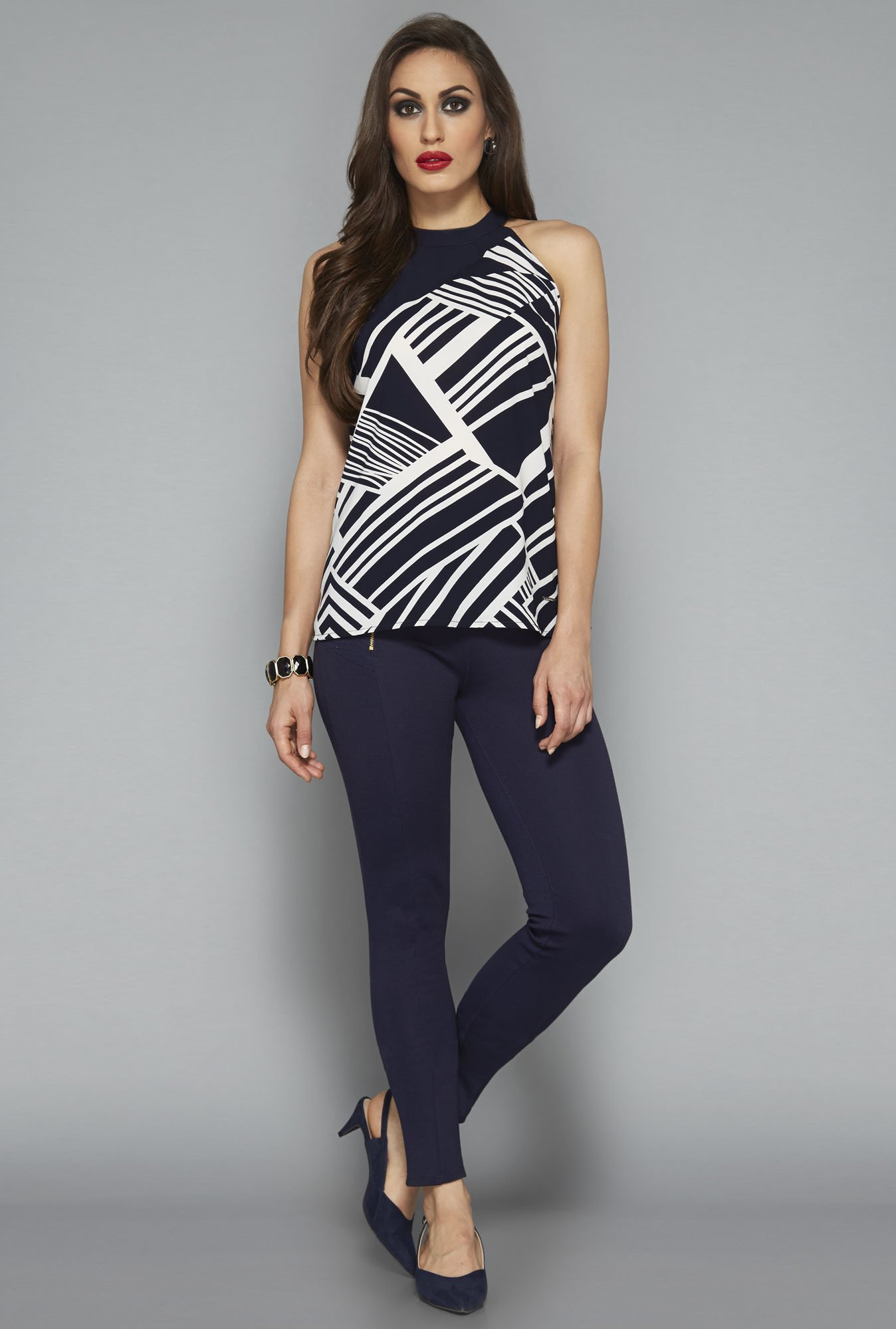 Wardrobe by Westside Navy Striped Blouse
