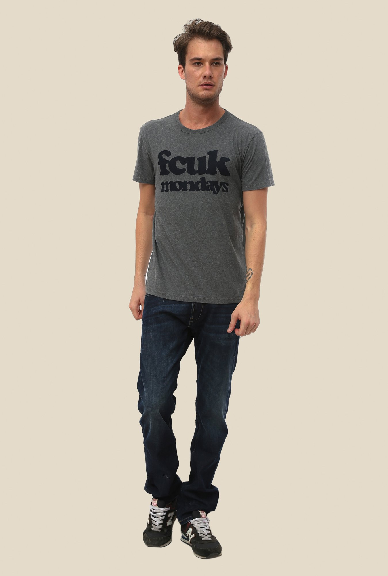 FCUK Grey Printed Short Sleeve T Shirt