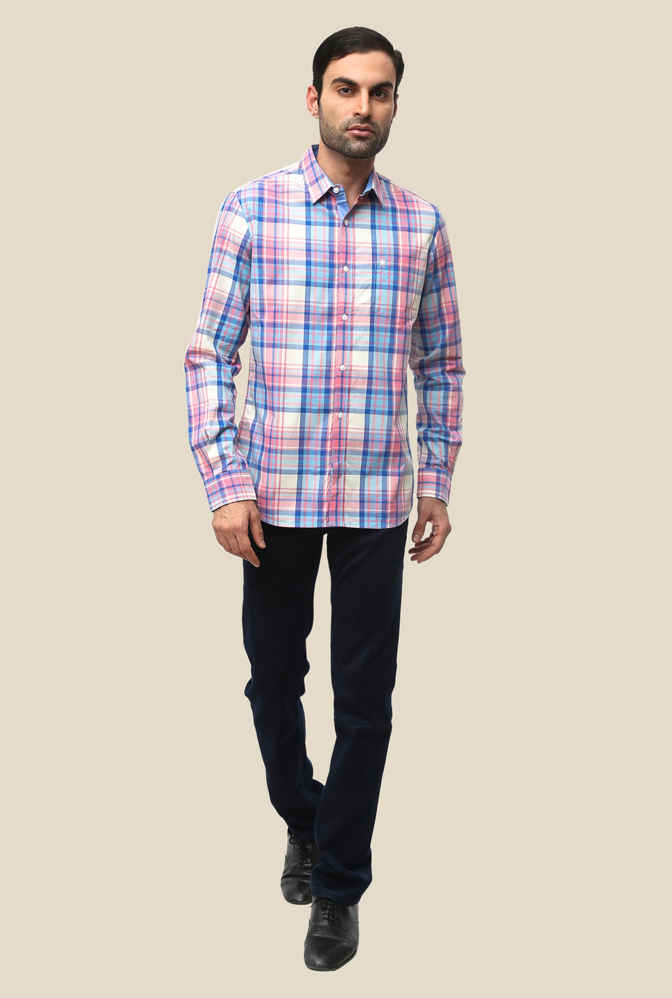 FCUK Multicolor Cotton Full Sleeve Checks Shirt