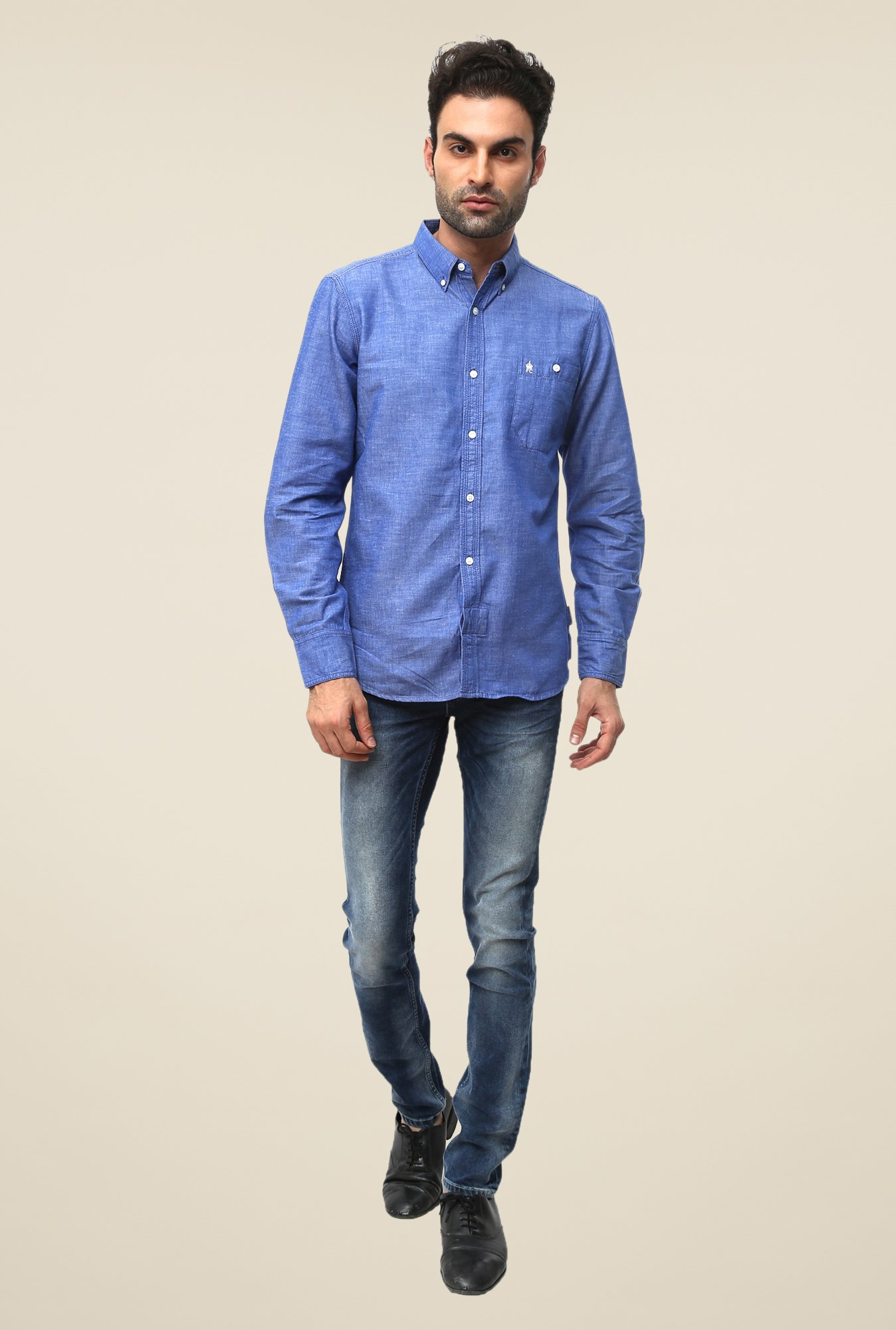 FCUK Blue Full Sleeve Solid Shirt