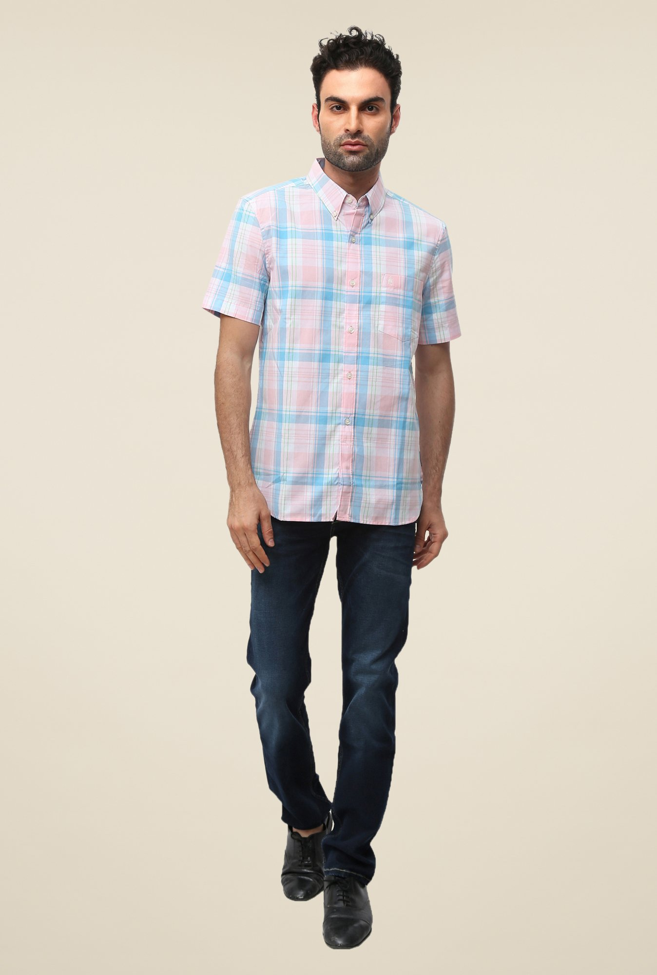 FCUK Pink Half Sleeve Checks Shirt
