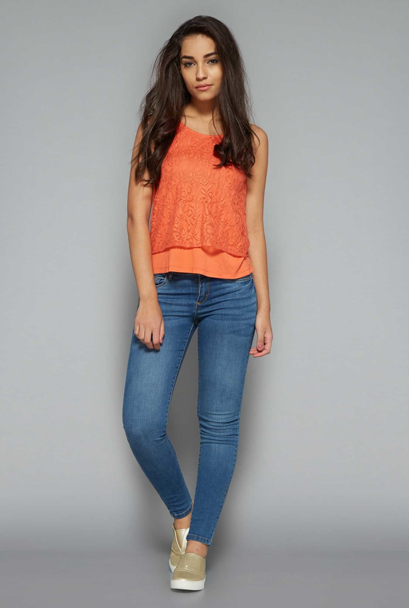 Nuon by Westside Orange Lace Top