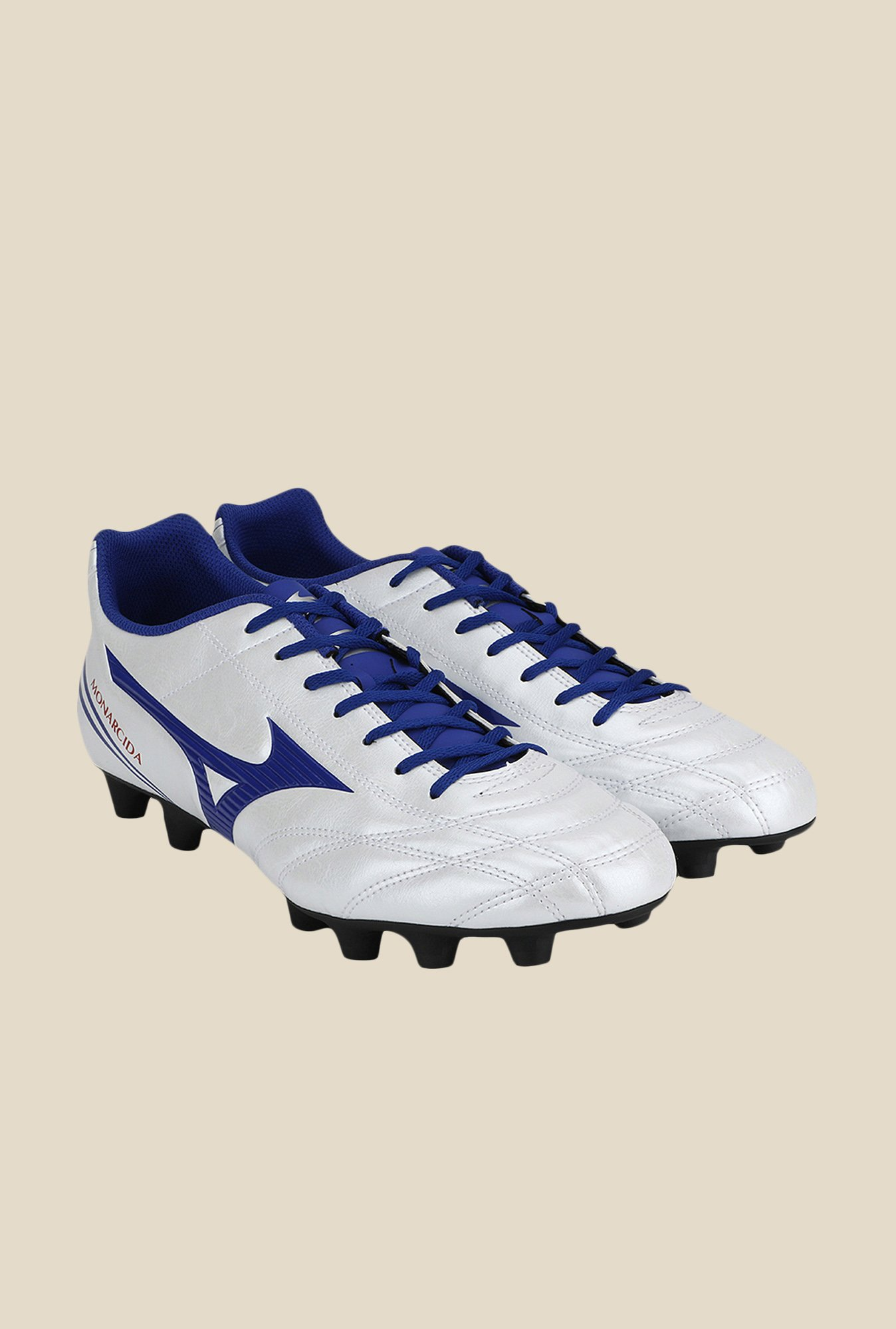 Mizuno Monarcida FS MD (Wide) White & Blue Football Shoes