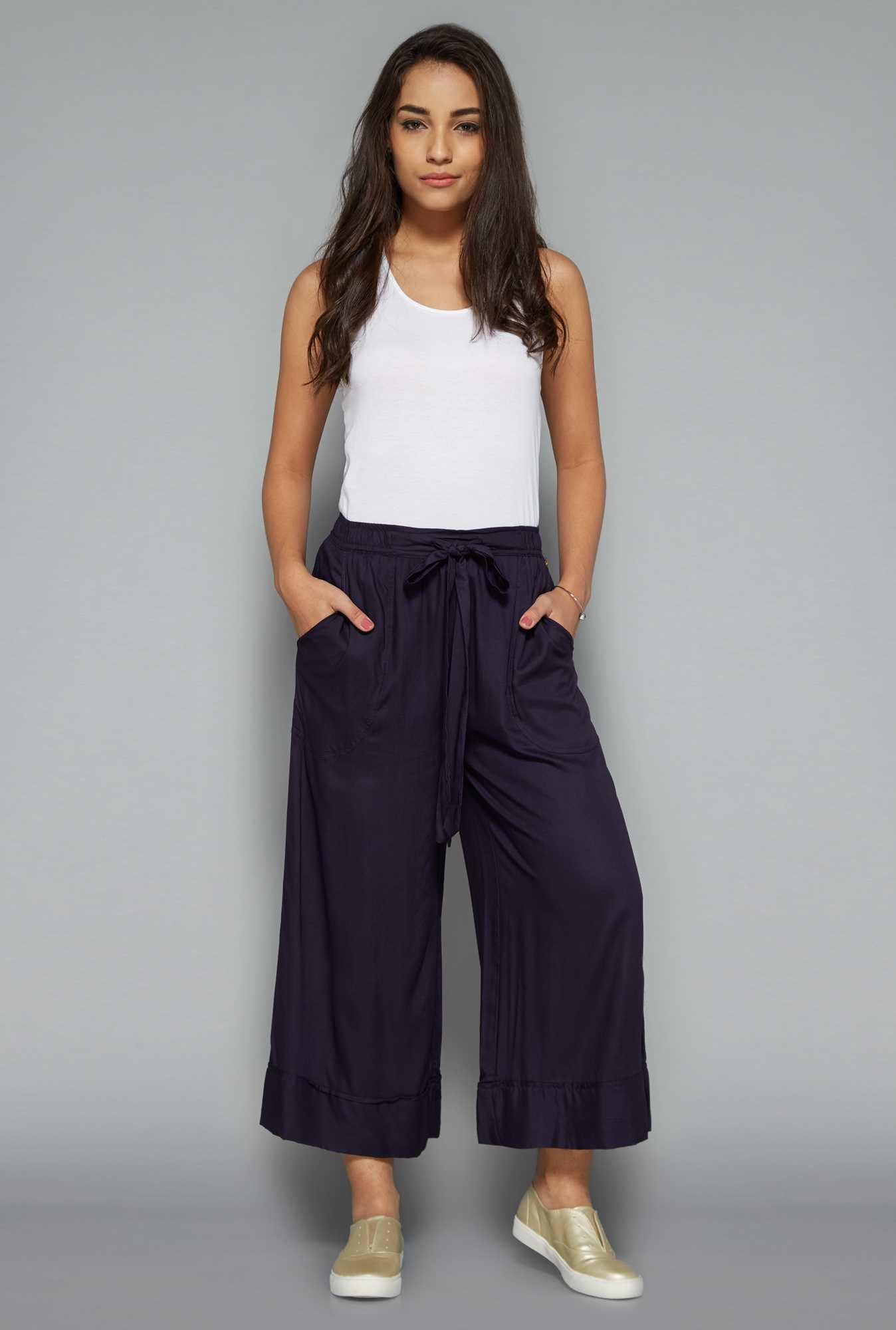 Nuon by Westside Navy Solid Palazzos