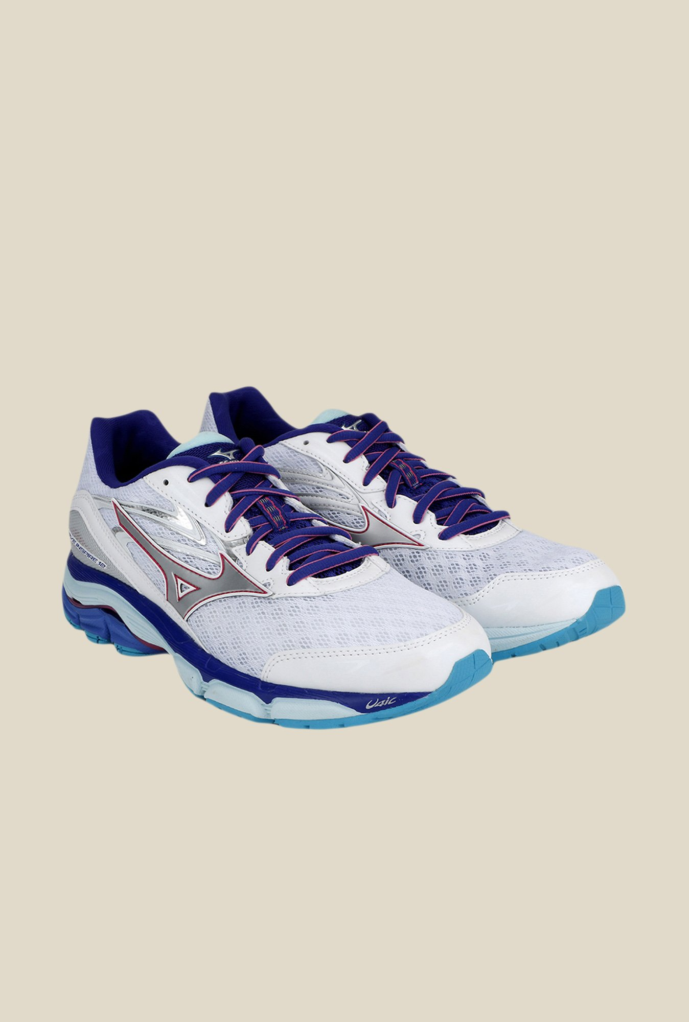 Mizuno Wave Inspire 12 White & Blue Running Shoes