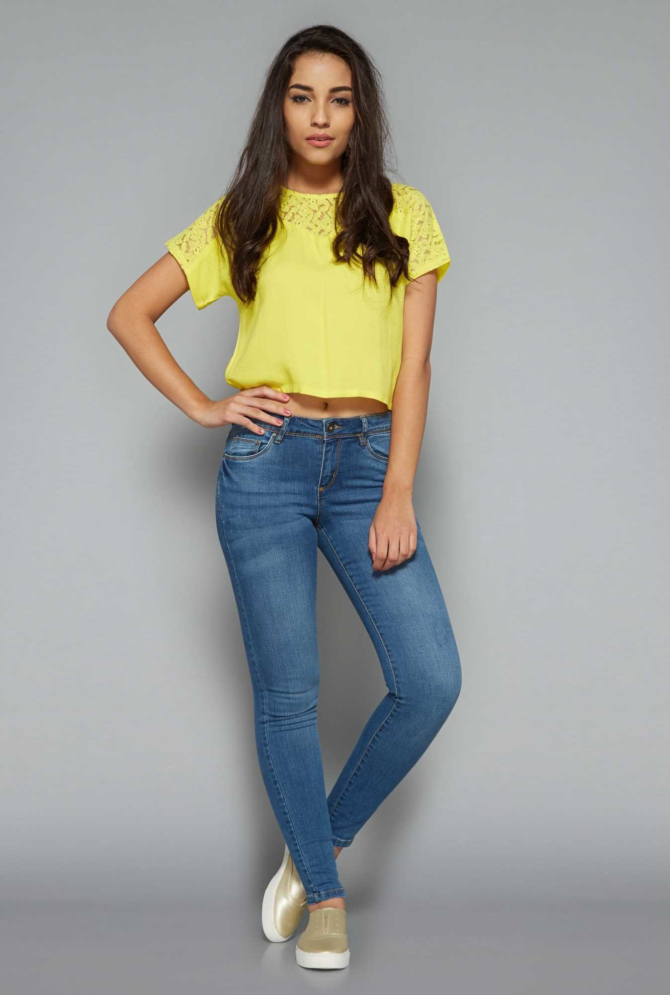 Nuon by Westside Yellow Lace Top