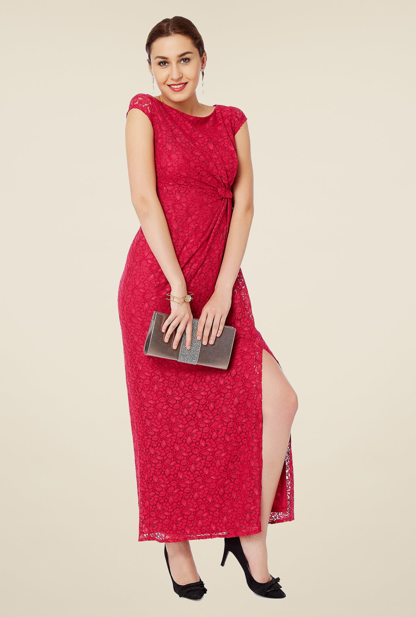 Avirate Red Lace Maxi Dress