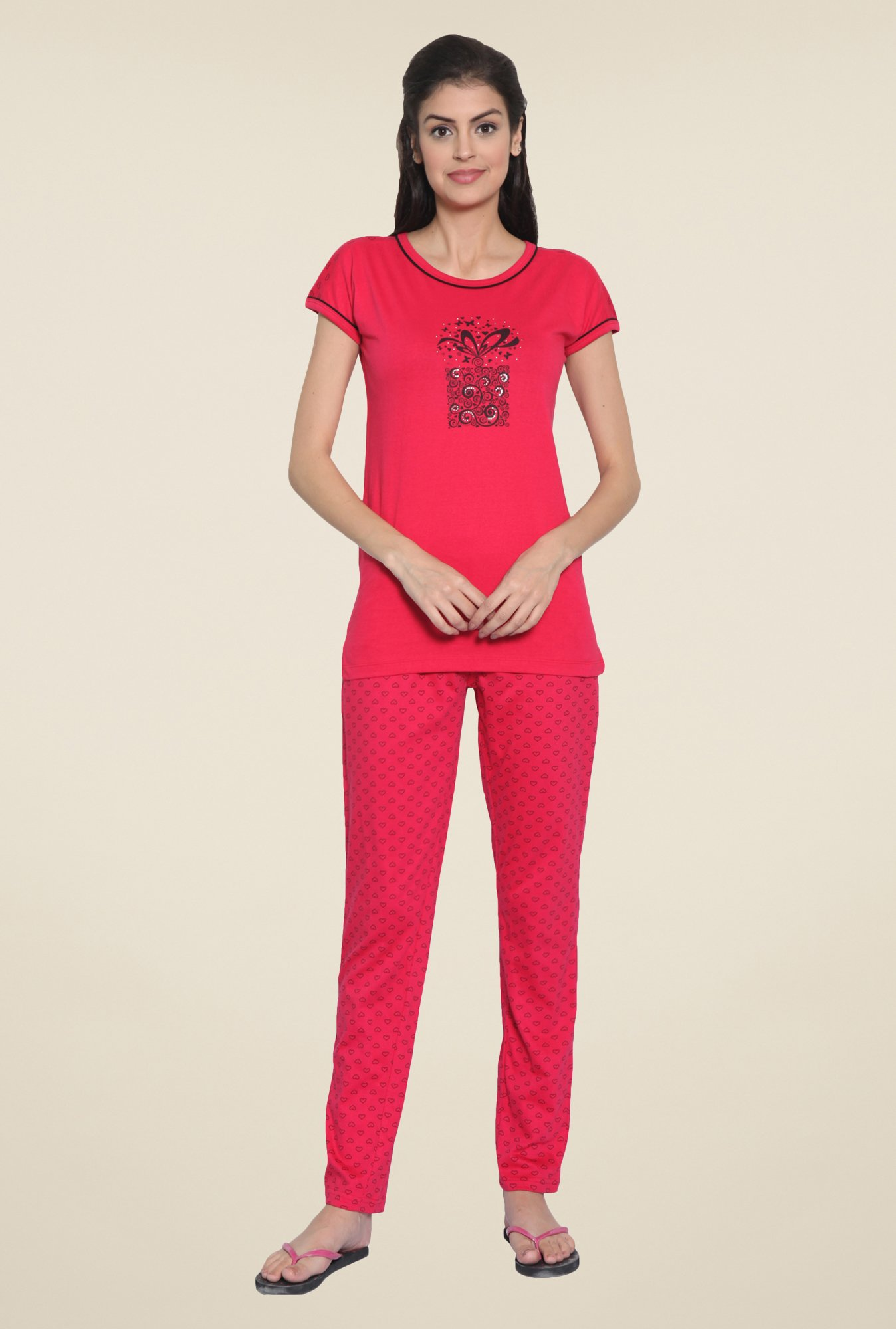 Sweet Dreams Coral Printed Pyjama Set