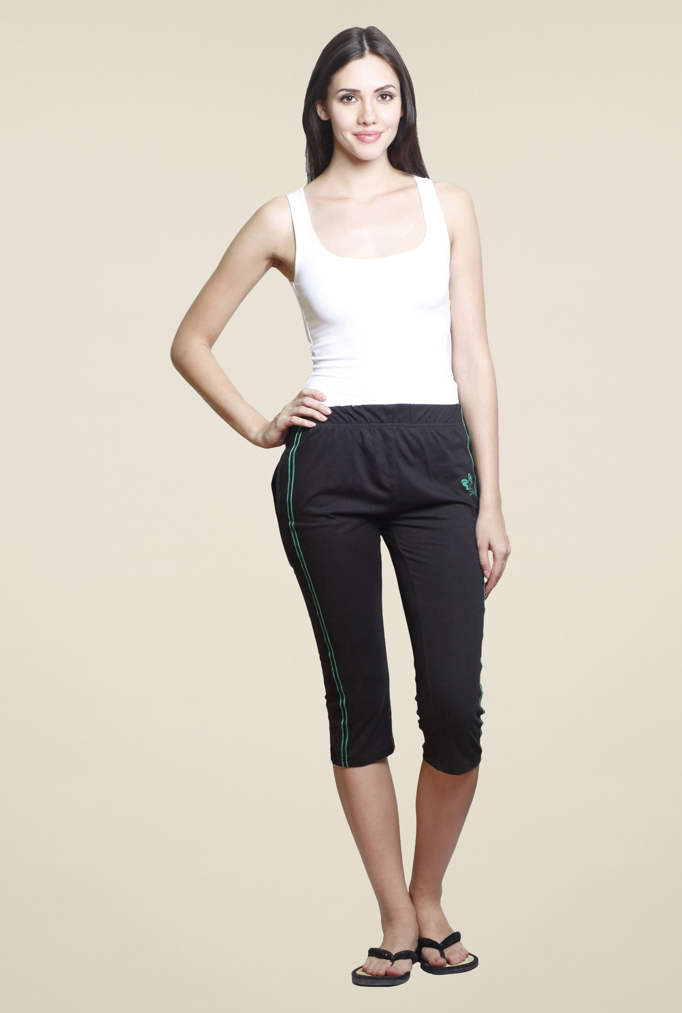 Sweet Dreams Black Cottony SJ Solid Capris