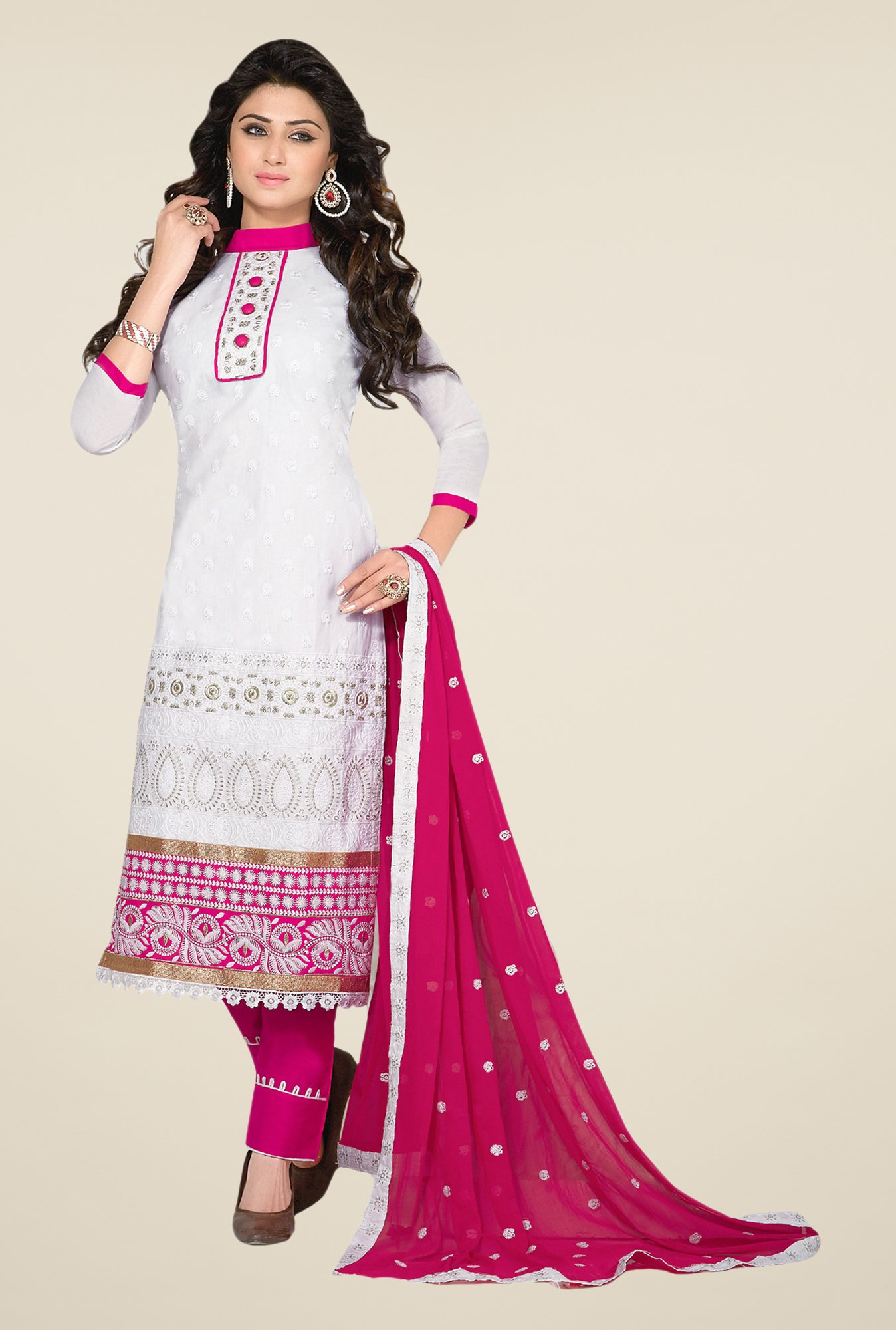 Salwar Studio White & Pink Embroidered Dress Material
