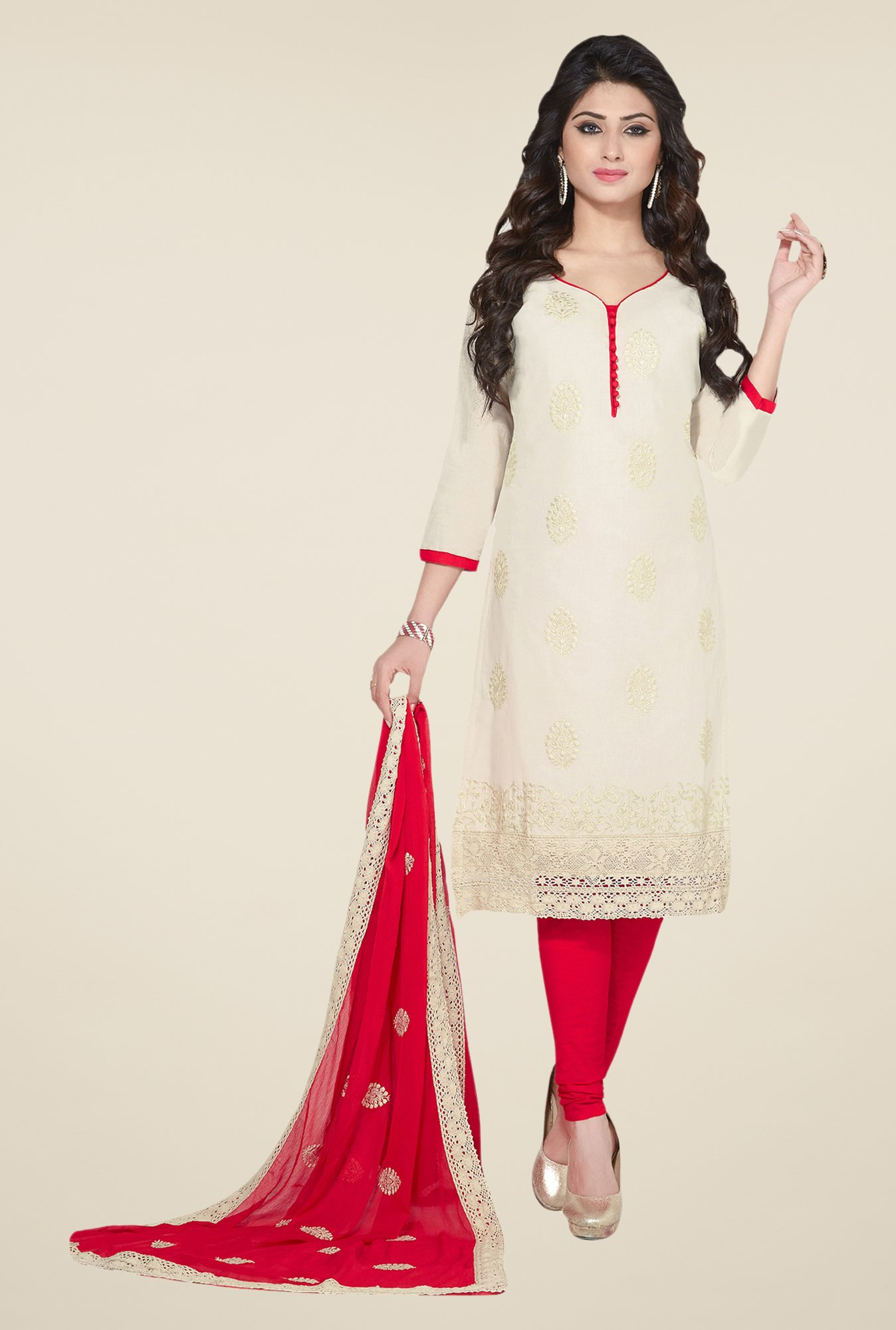 Salwar Studio Cream & Red Embroidered Dress Material