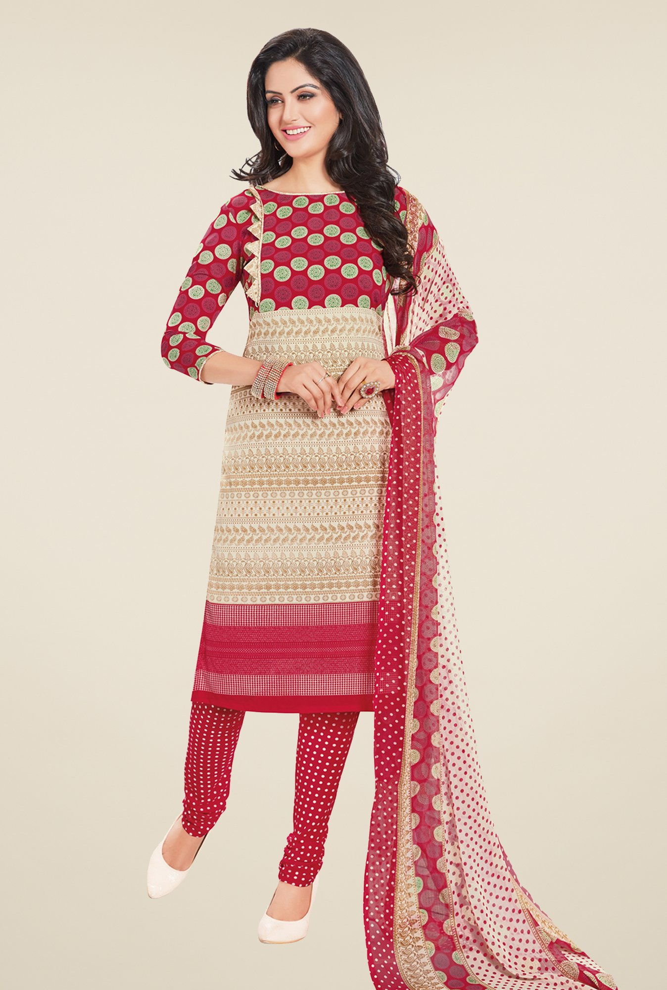 Salwar Studio Beige & Red Printed Free Size Dress Material