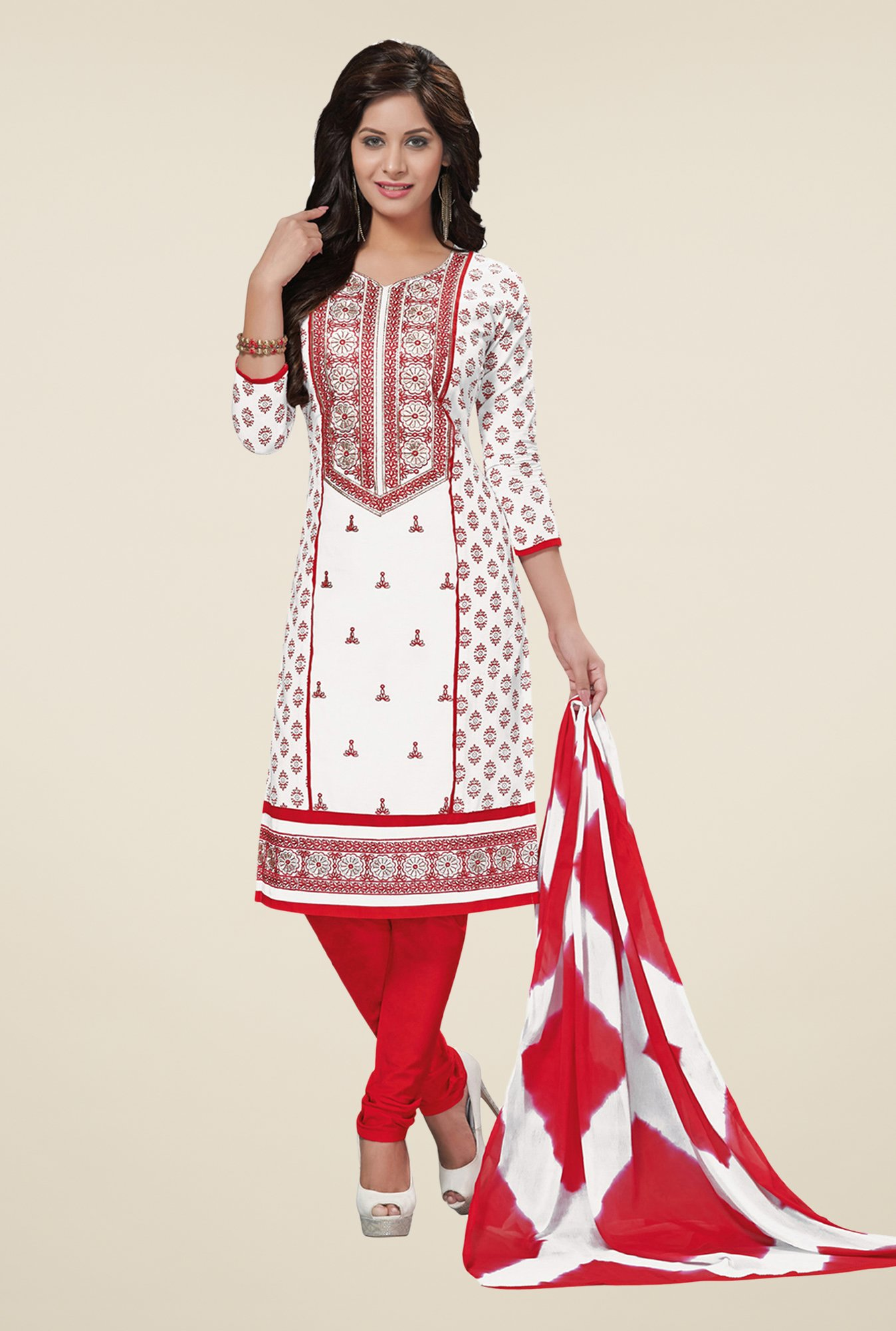 Salwar Studio White & Red Embroidered Cotton Dress Material