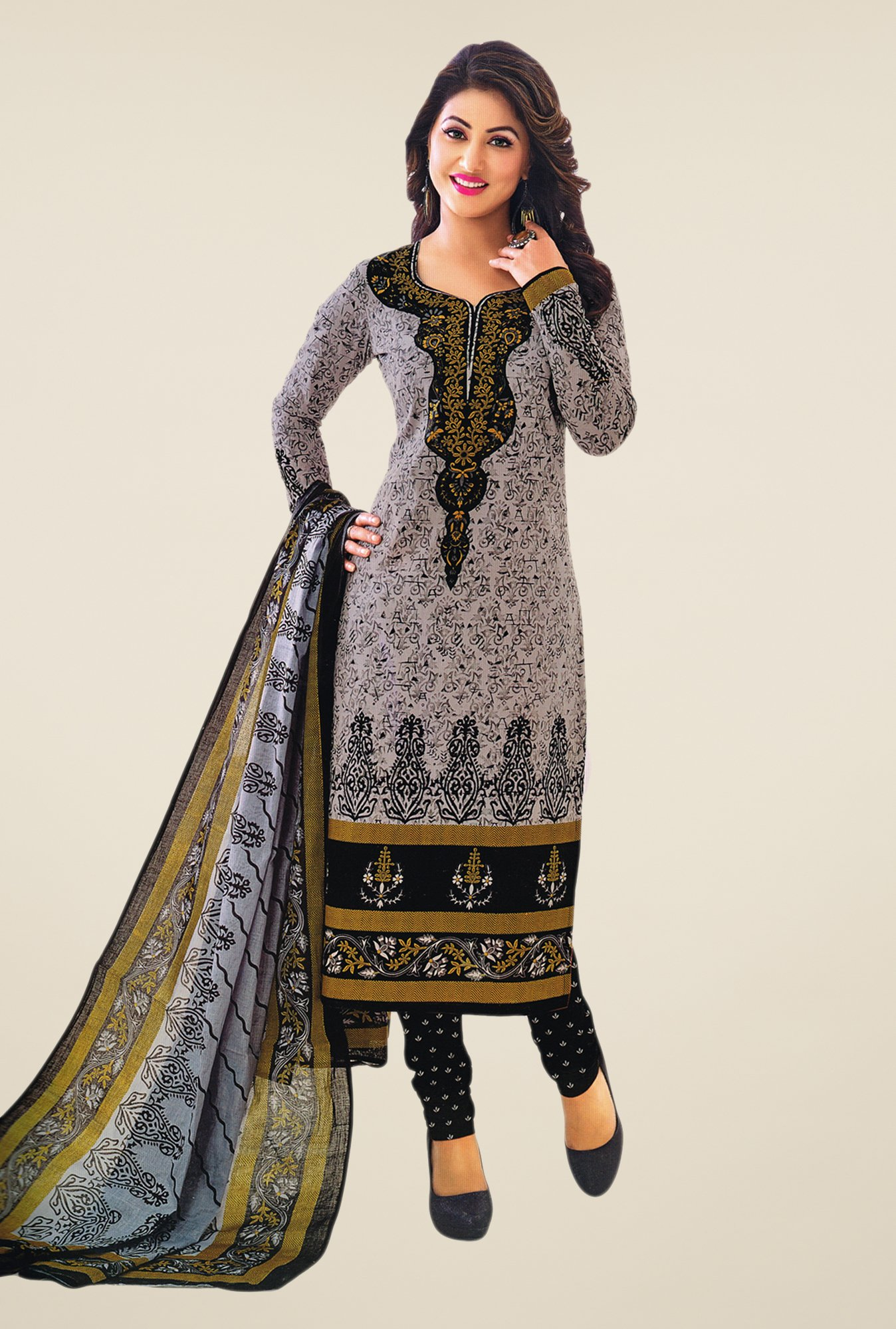 Salwar Studio Grey & Black Printed Cotton Dress Material