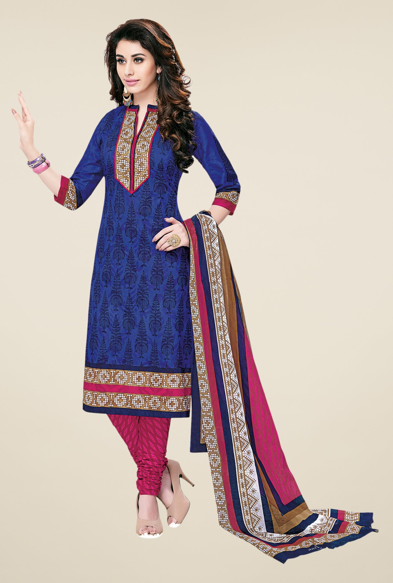 Salwar Studio Blue & Pink Printed Cotton Dress Material