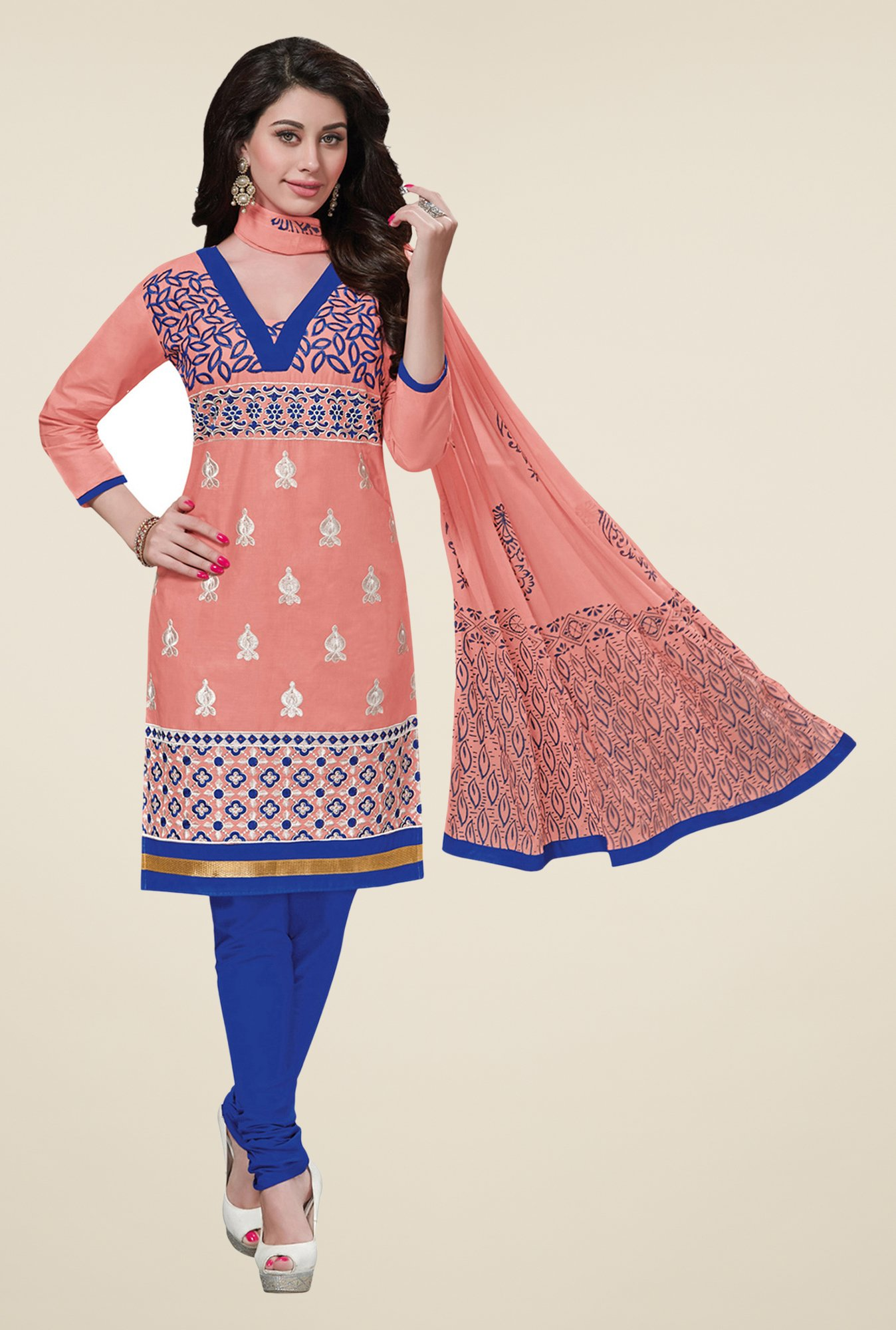 Salwar Studio Peach & Blue Embroidered Dress Material