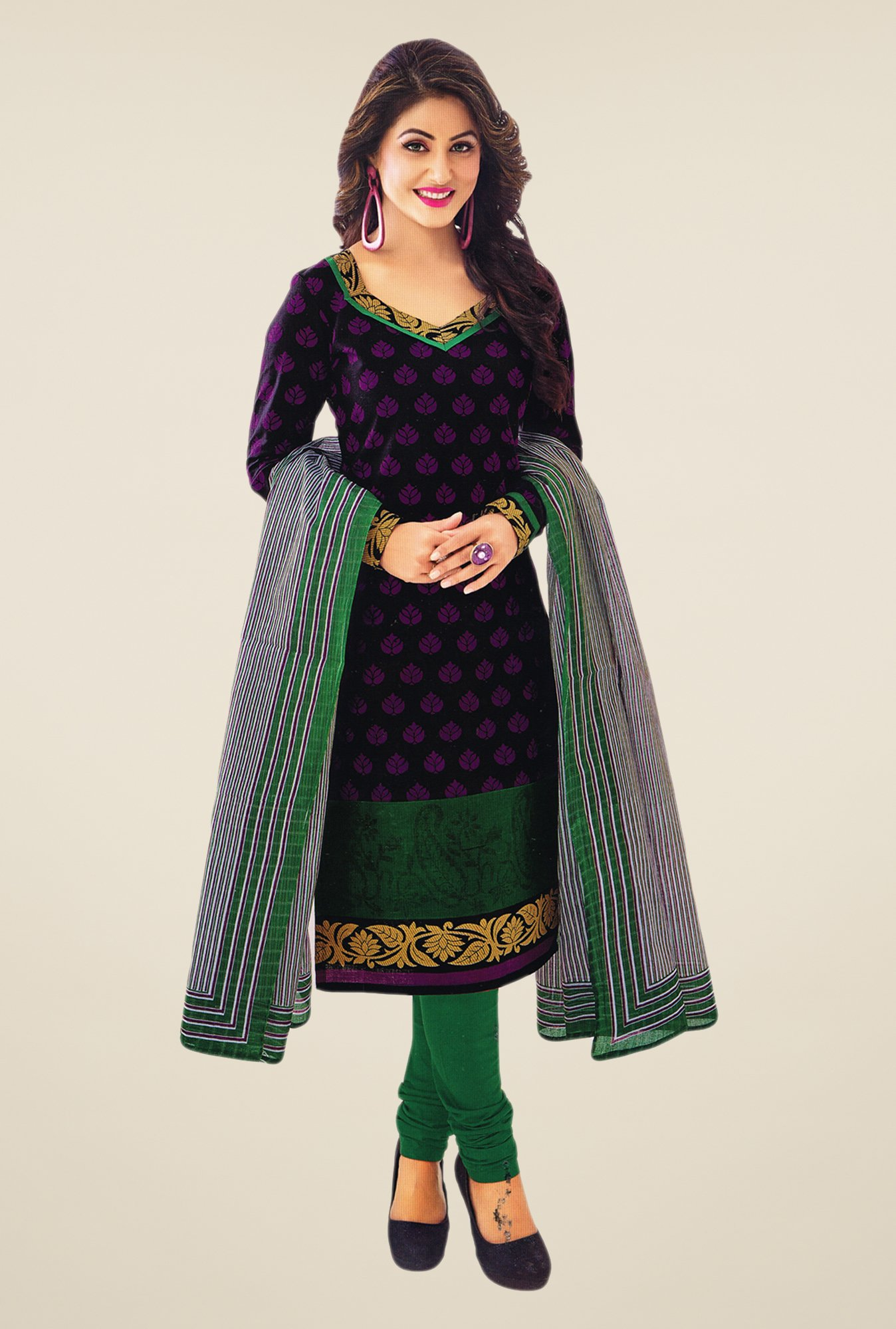 Salwar Studio Deep Violet & Green Printed Dress Material