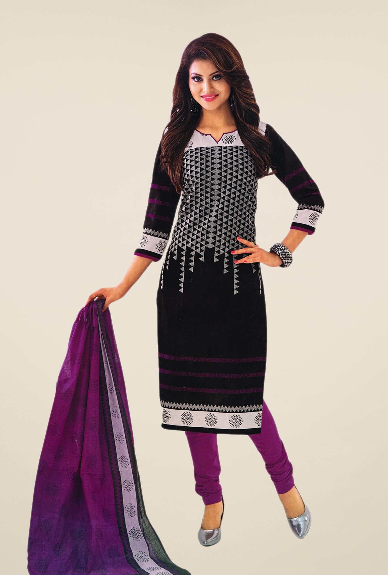 Salwar Studio Black & Violet Printed Dress Material