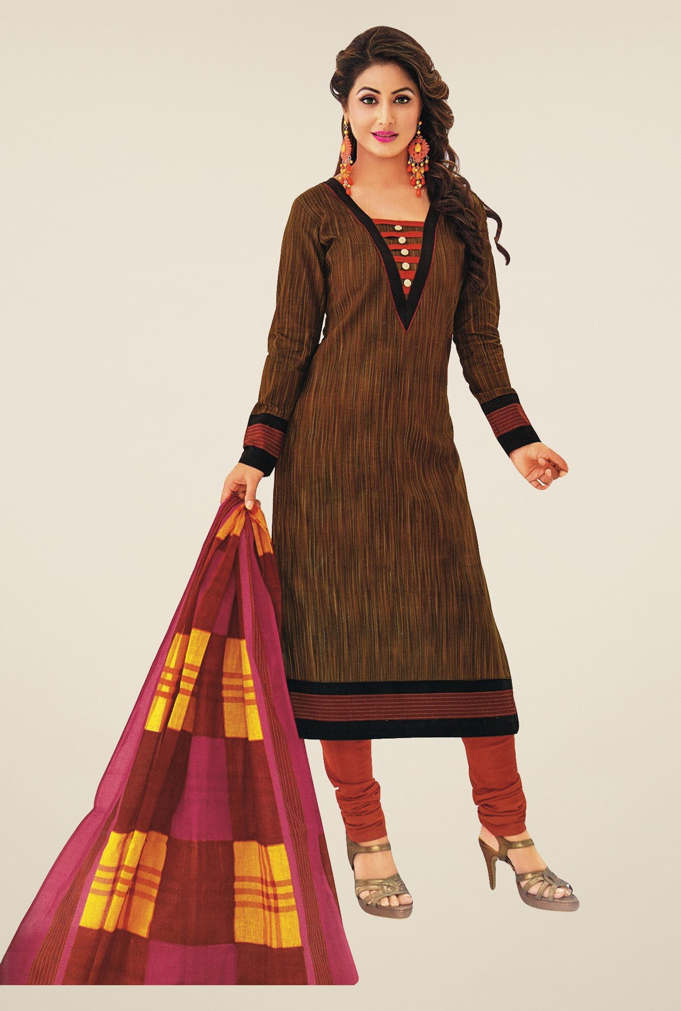 Salwar Studio Brown & Peach Printed Dress Material