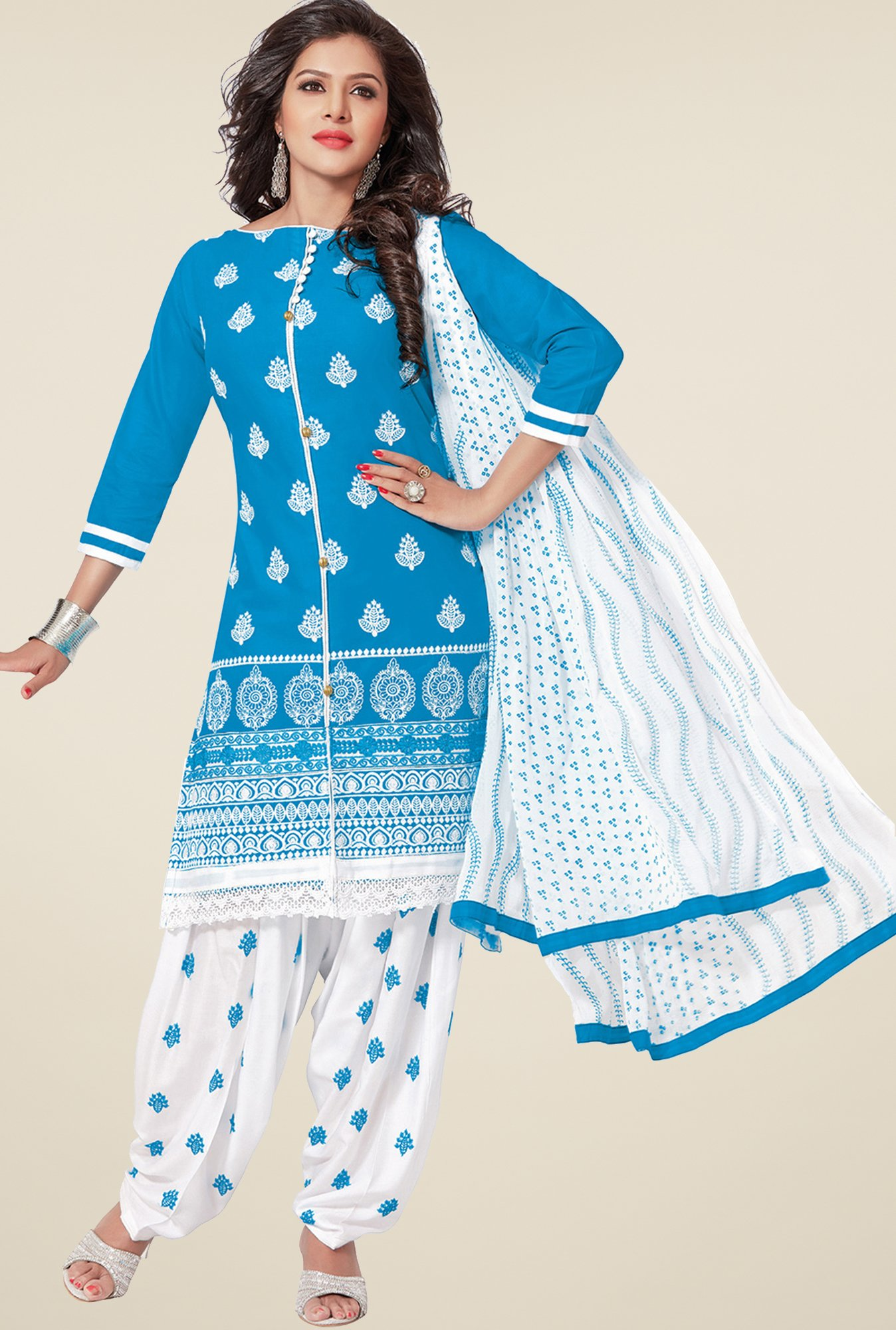 Salwar Studio Blue & White Patiyala Dress Material