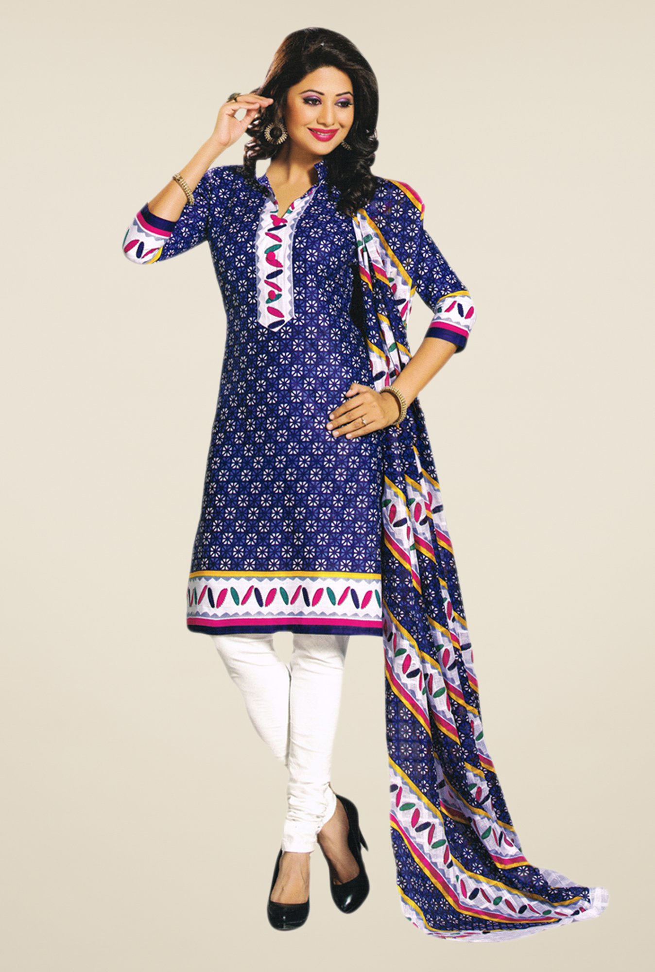 Salwar Studio Blue & White Dress Material
