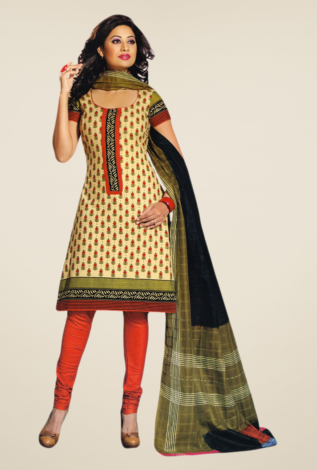 Salwar Studio Fawn & Orange Printed Dress Material