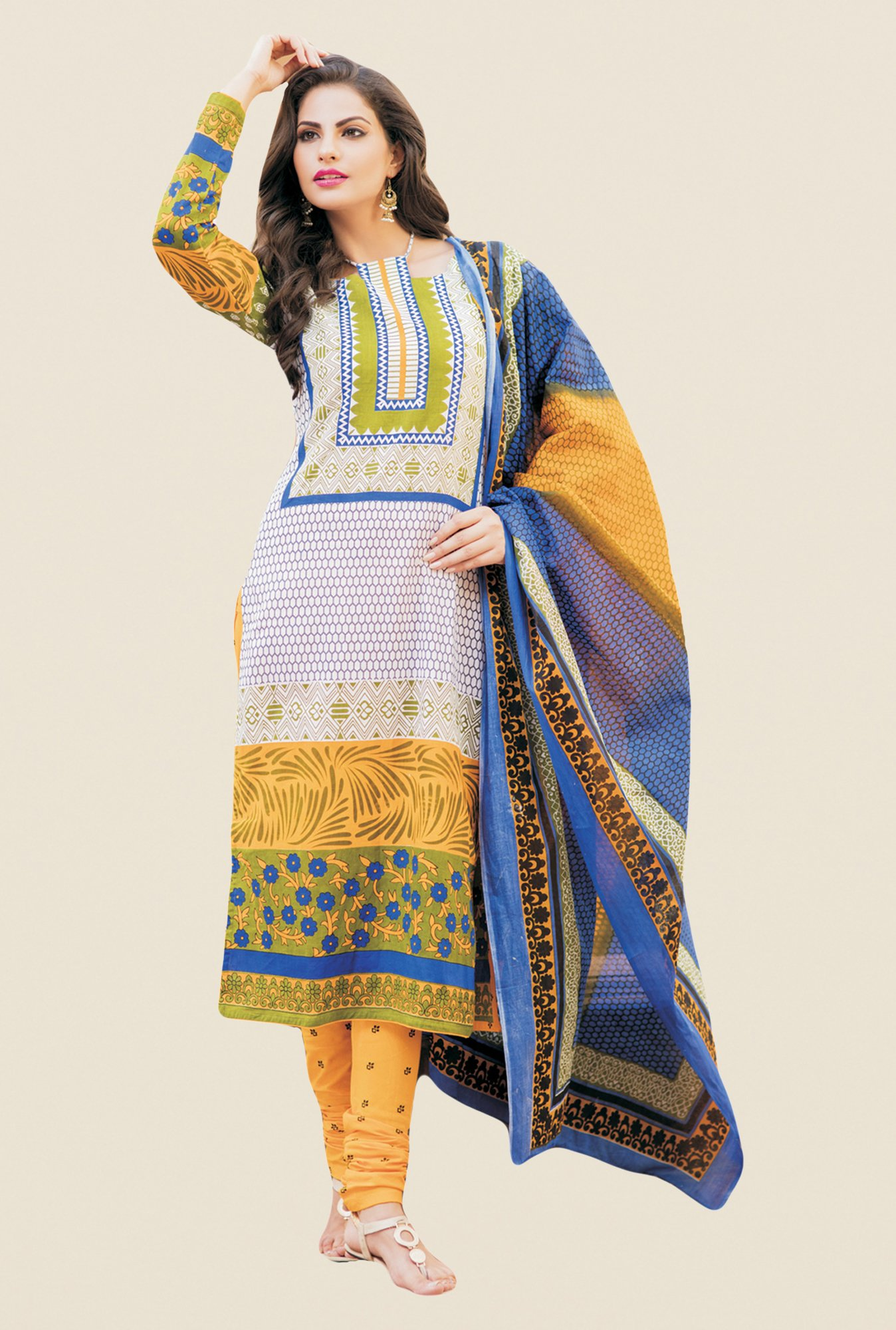 Salwar Studio Multicolor Printed Free Size Dress Material