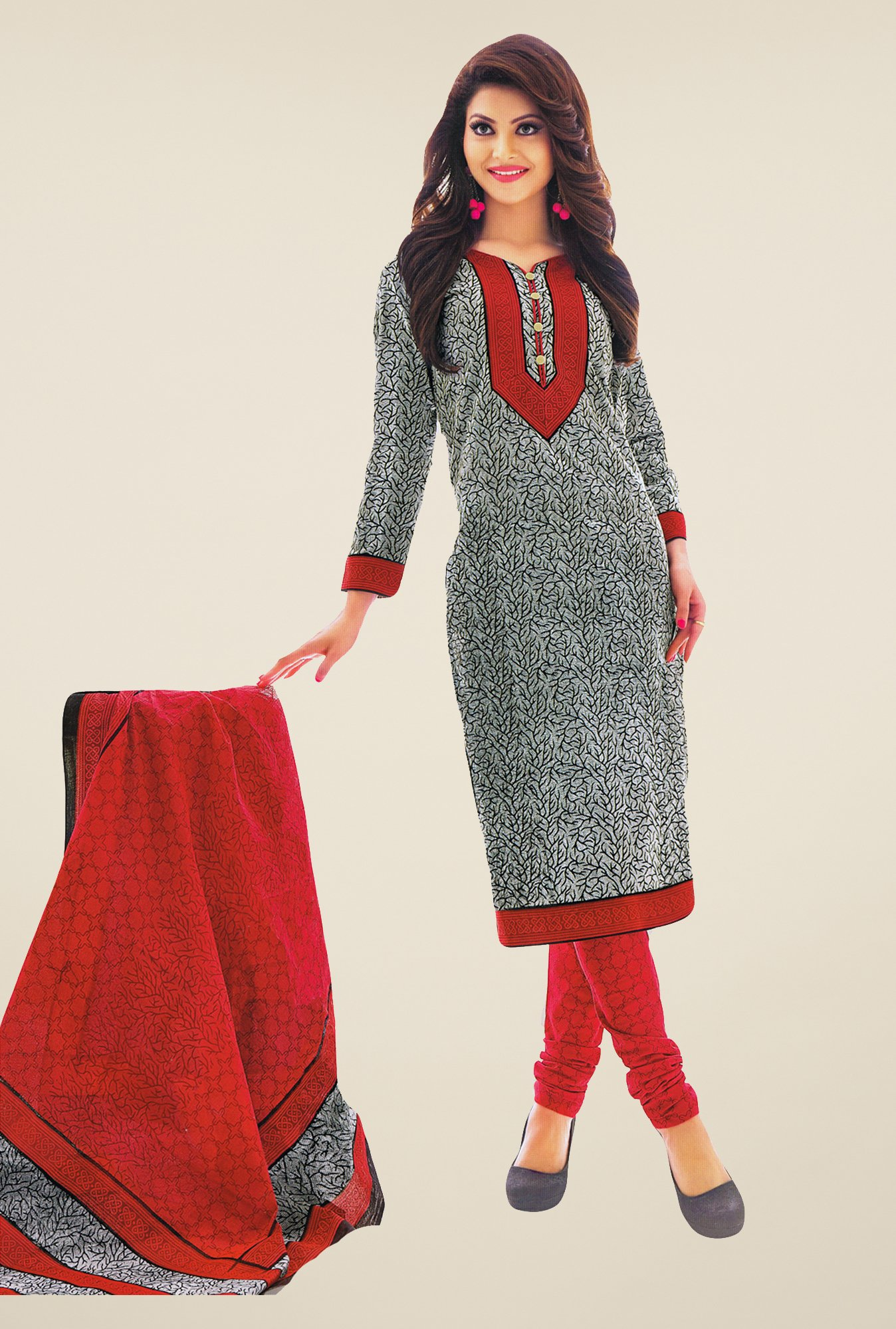 Salwar Studio Grey & Red Printed Free Size Dress Material