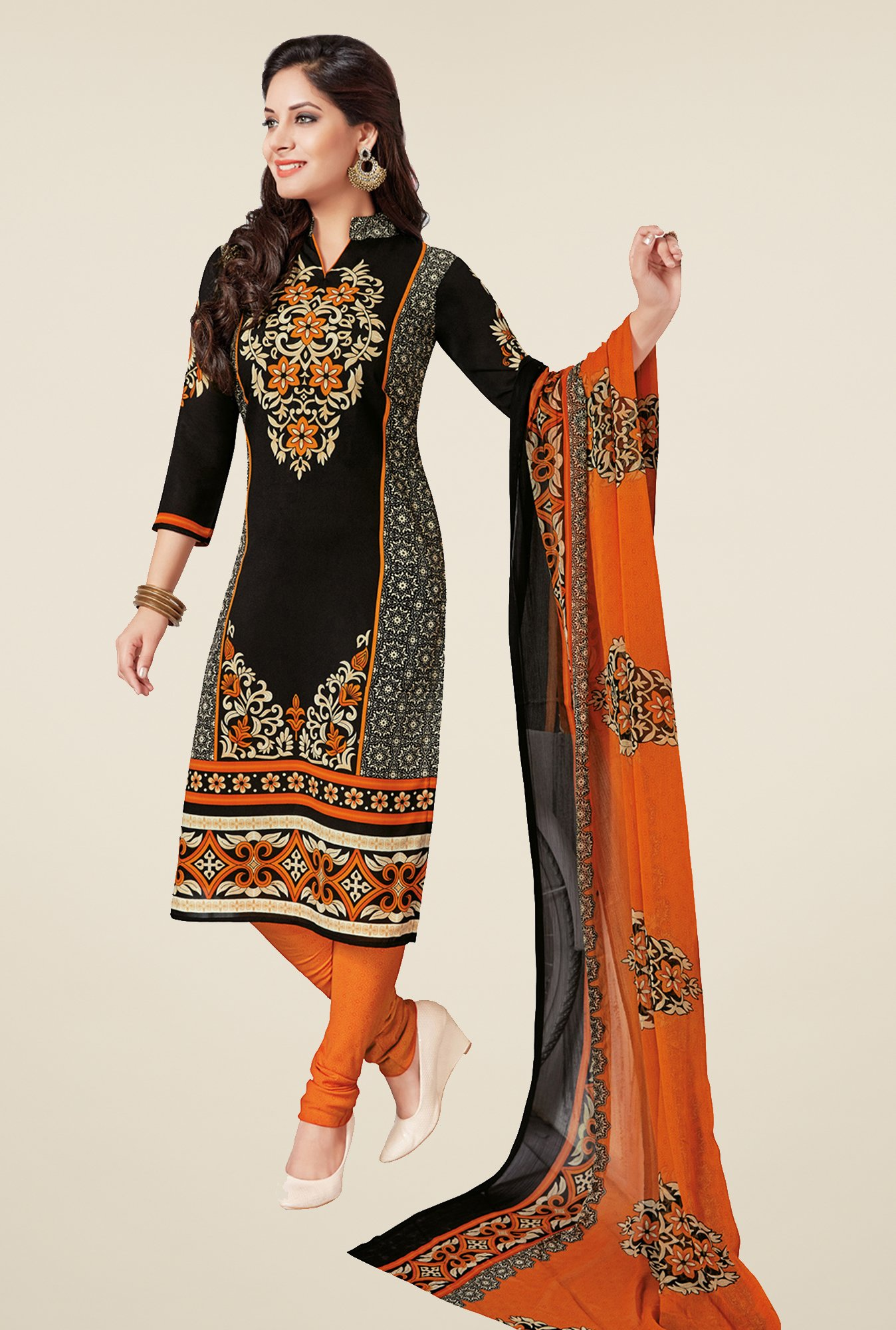 Salwar Studio Black & Orange Printed Dress Material