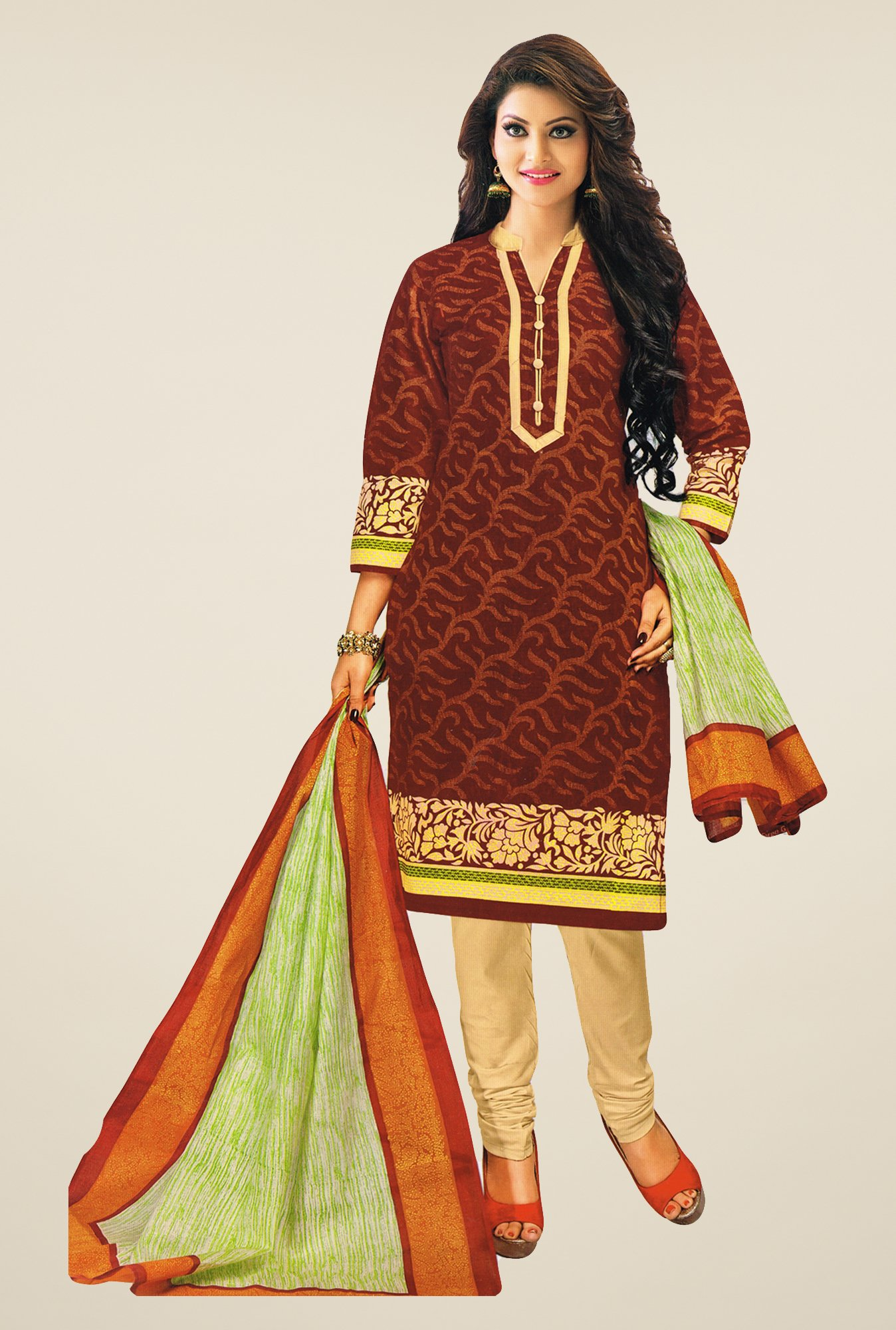 Salwar Studio Brown & Beige Printed Cotton Dress Material