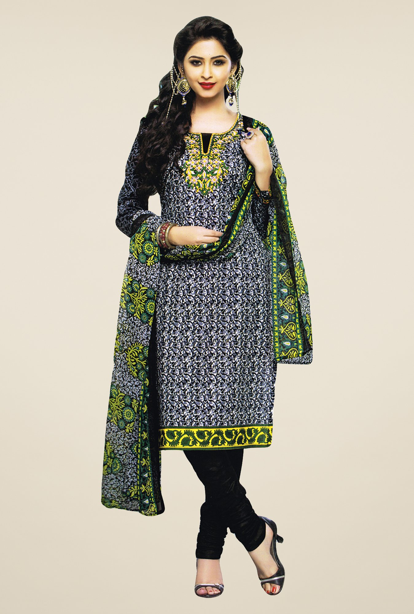 Salwar Studio Black & Green Printed Dress Material