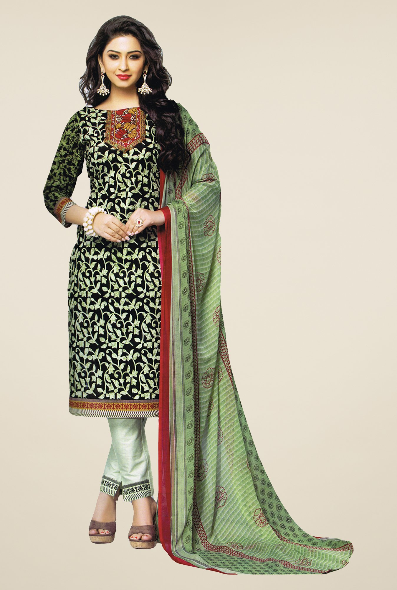 Salwar Studio Green & Black Printed Cotton Dress Material