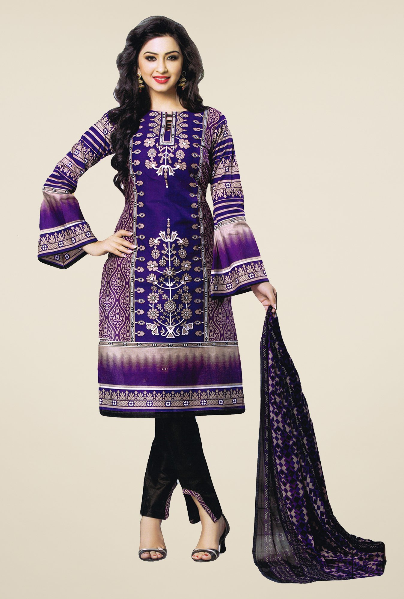 Salwar Studio Violet & Black Printed Dress Material