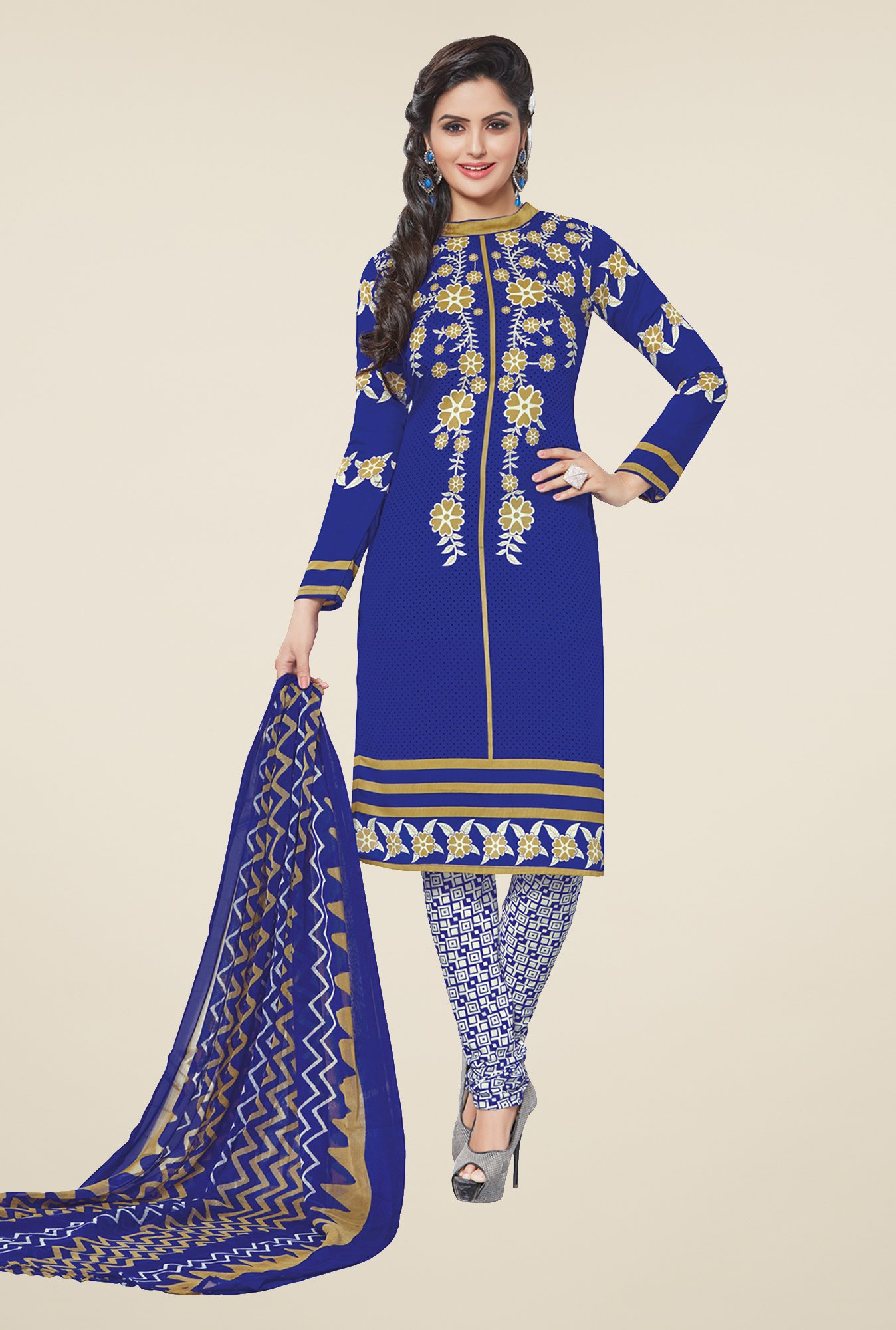 Salwar Studio Blue & White Printed Synthetic Dress Material