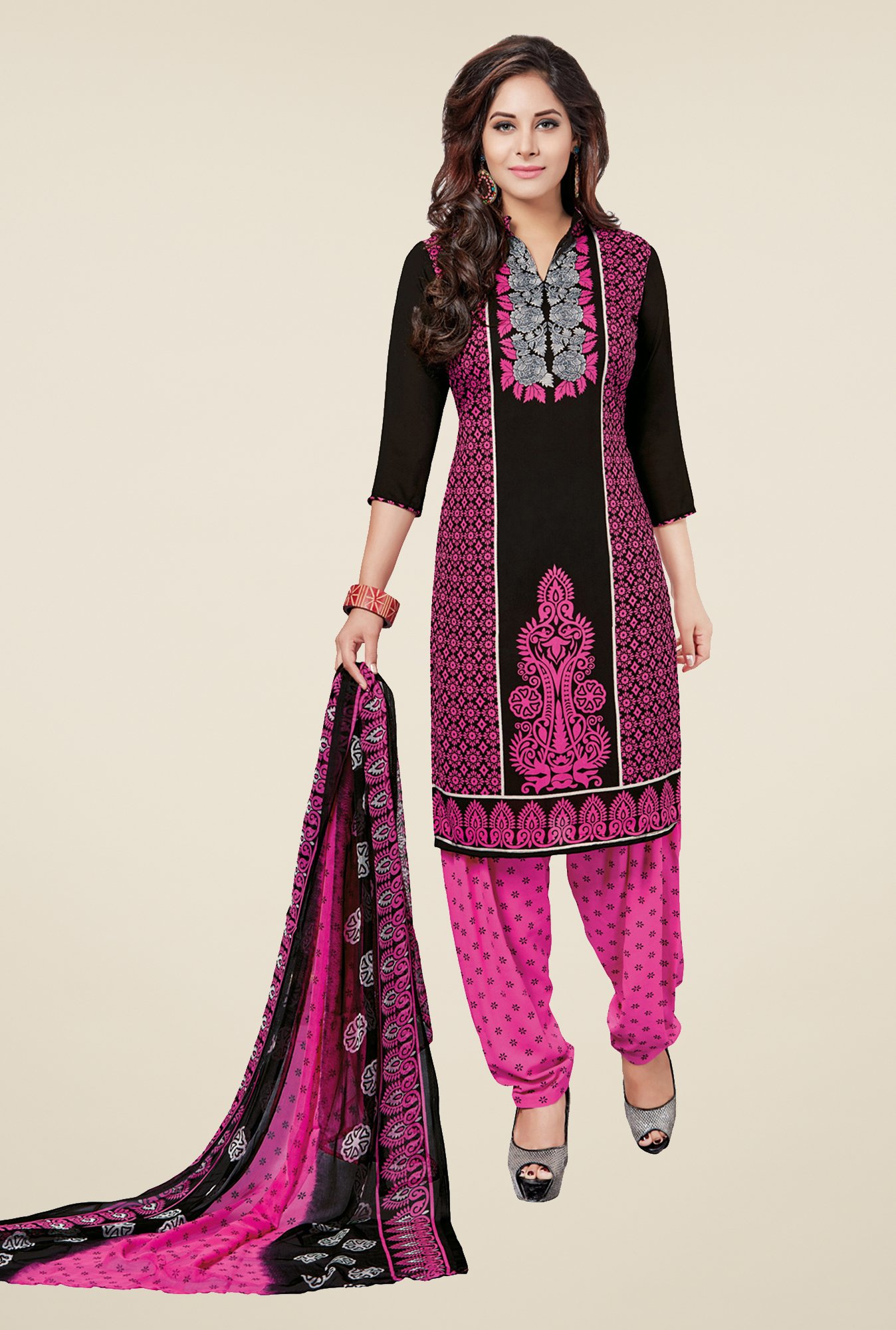 Salwar Studio Black & Pink Printed Dress Material