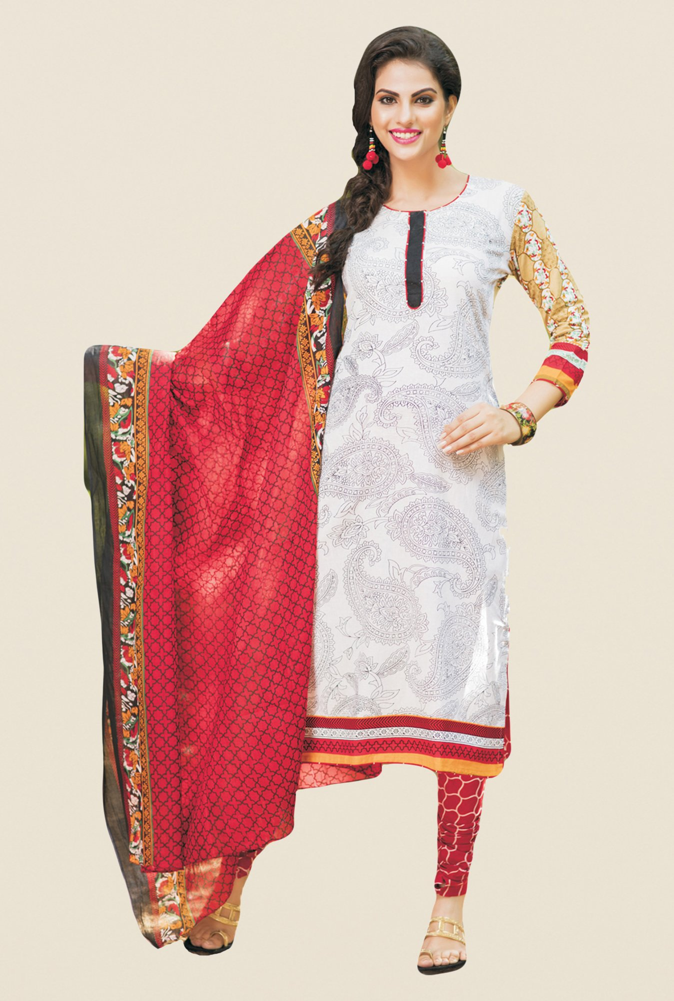 Salwar Studio White & Red Printed Free Size Dress Material