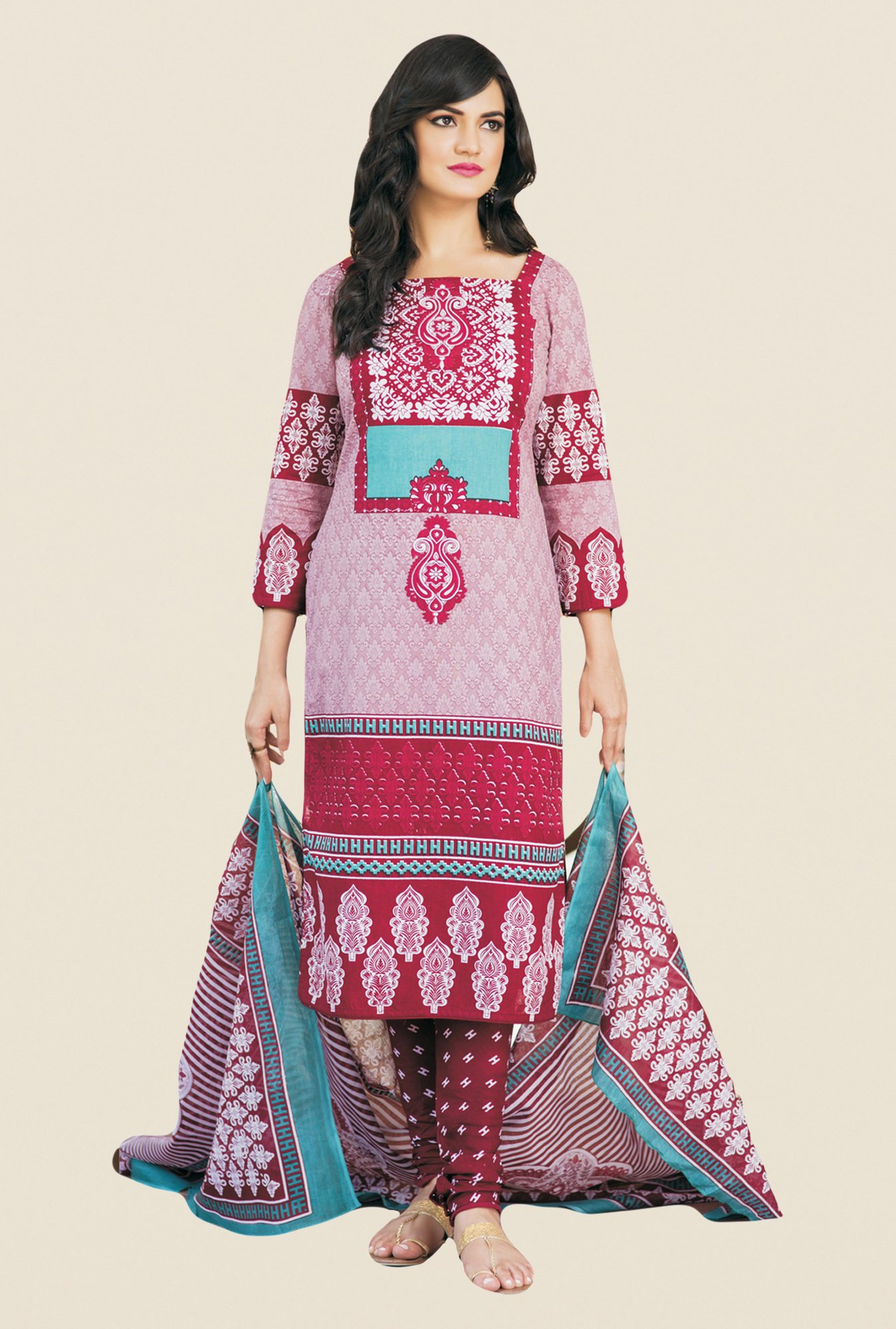 Salwar Studio Pink & Maroon Printed Dress Material