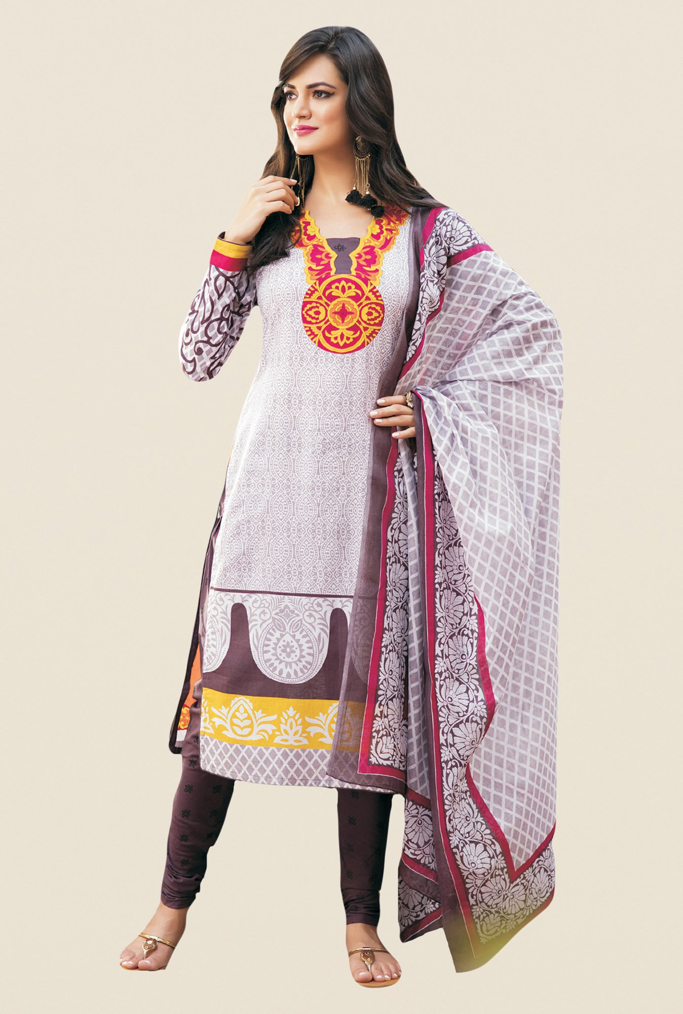 Salwar Studio White & Coffee Printed Dress Material