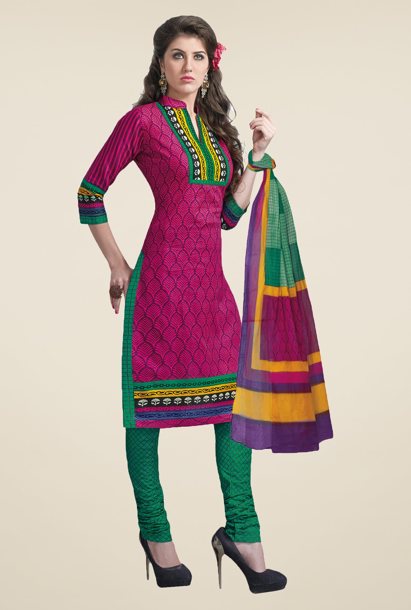 Salwar Studio Pink & Green Free Size Dress Material