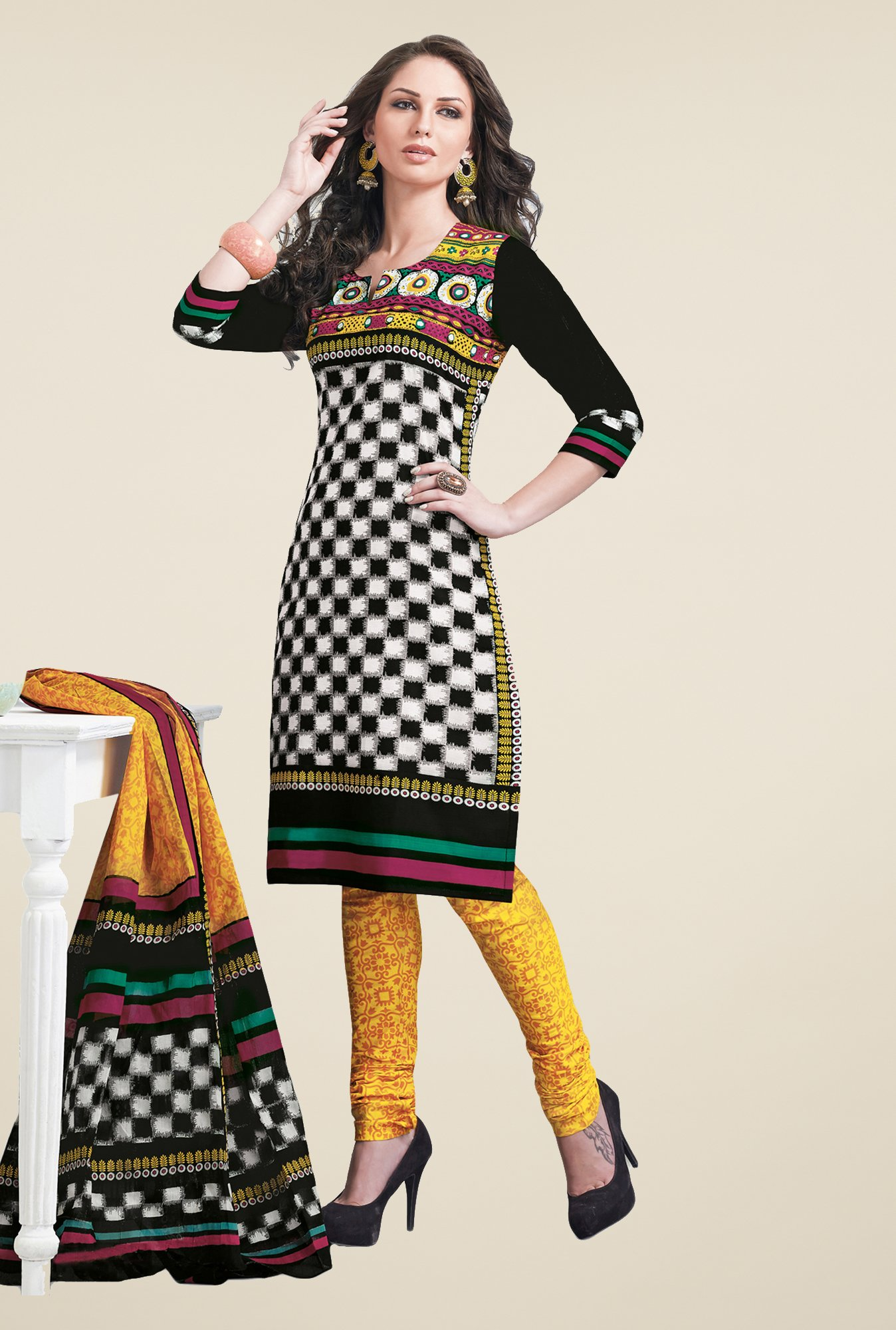 Salwar Studio Black & Yellow Linen Cotton Dress Material
