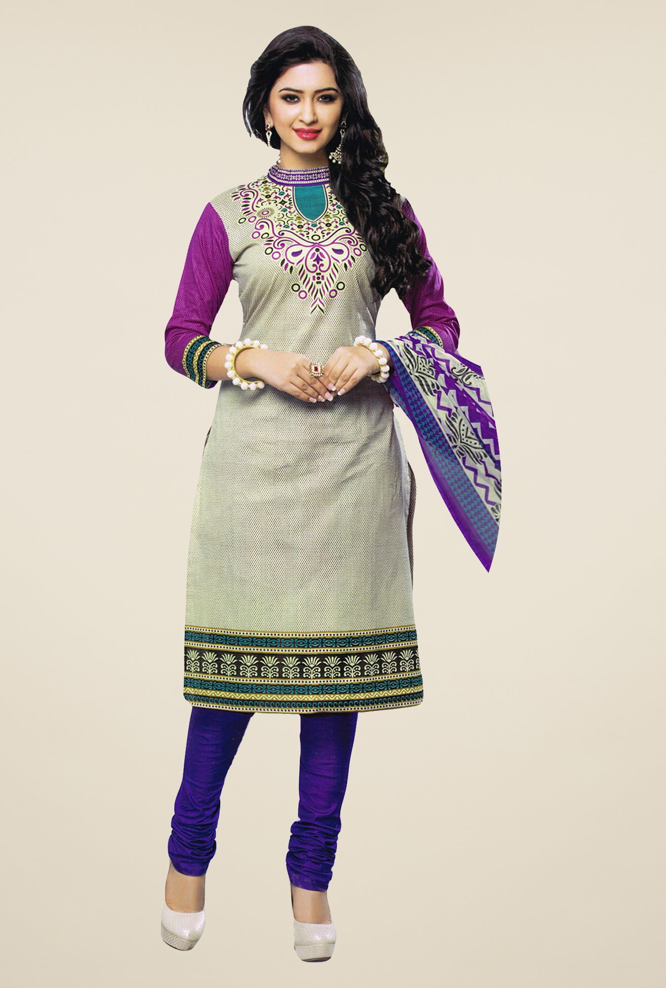 Salwar Studio Grey & Violet Printed Dress Material