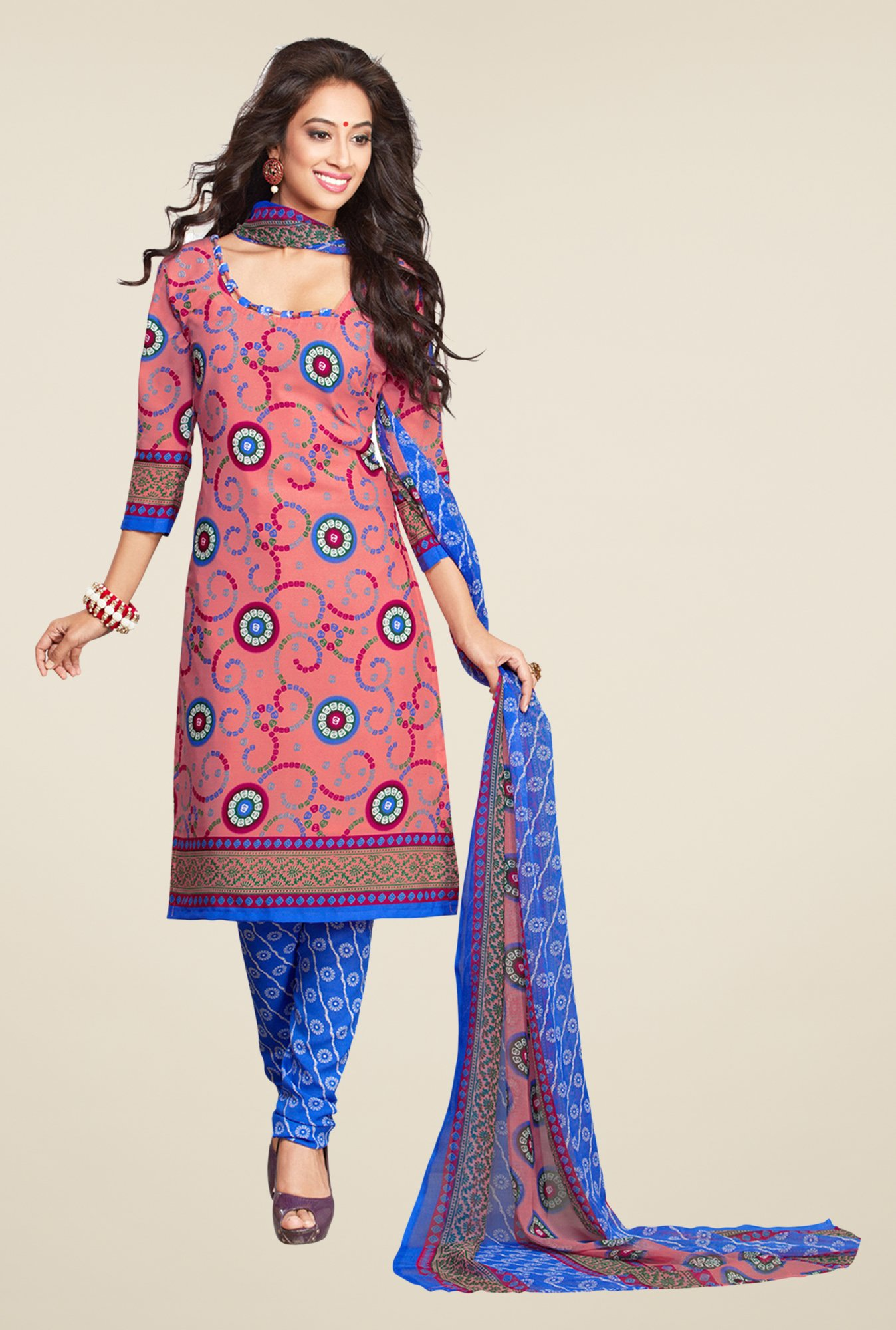 Salwar Studio Coral & Blue Printed Synthetic Dress Material