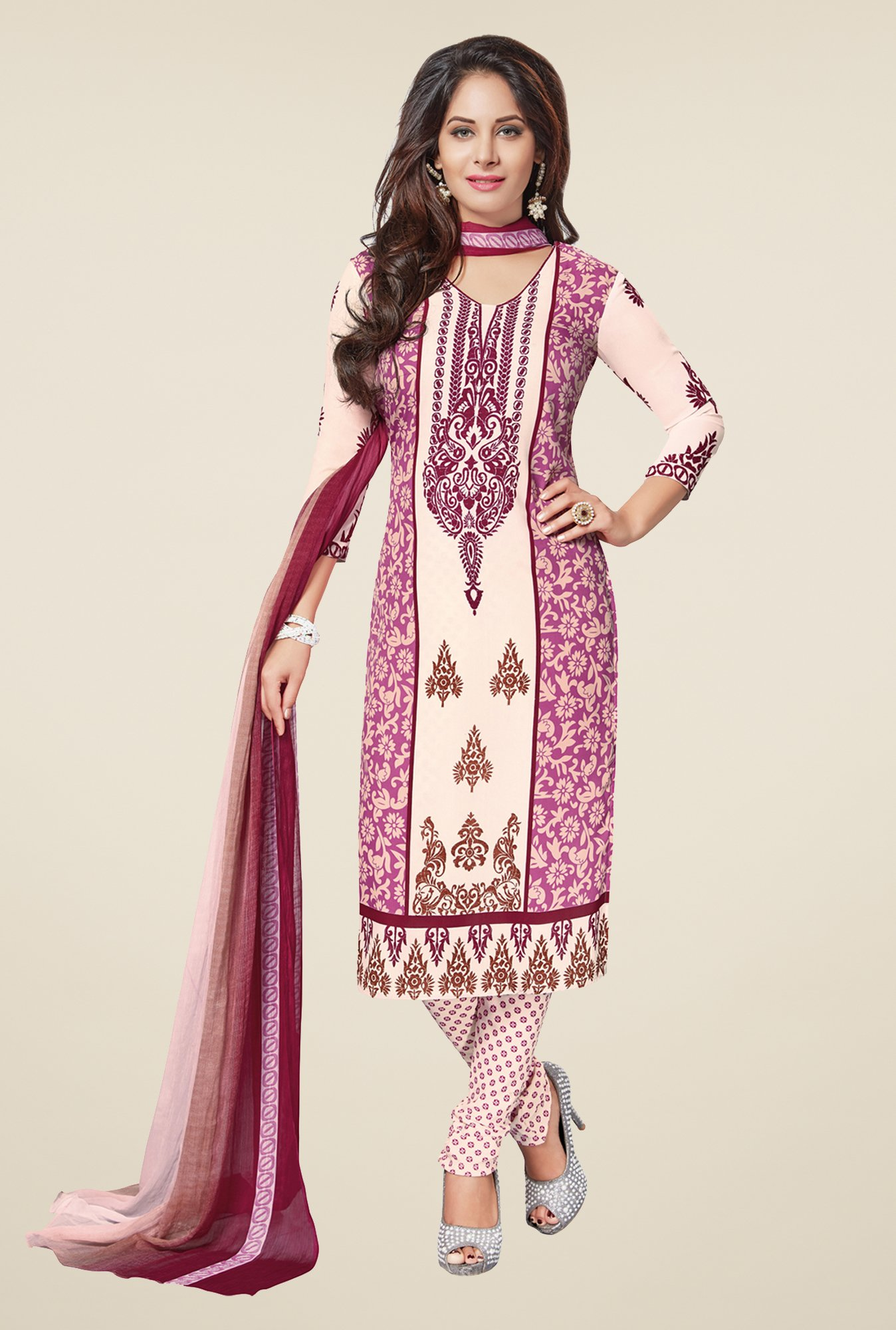 Salwar Studio Pink & Off White Synthetic Dress Material