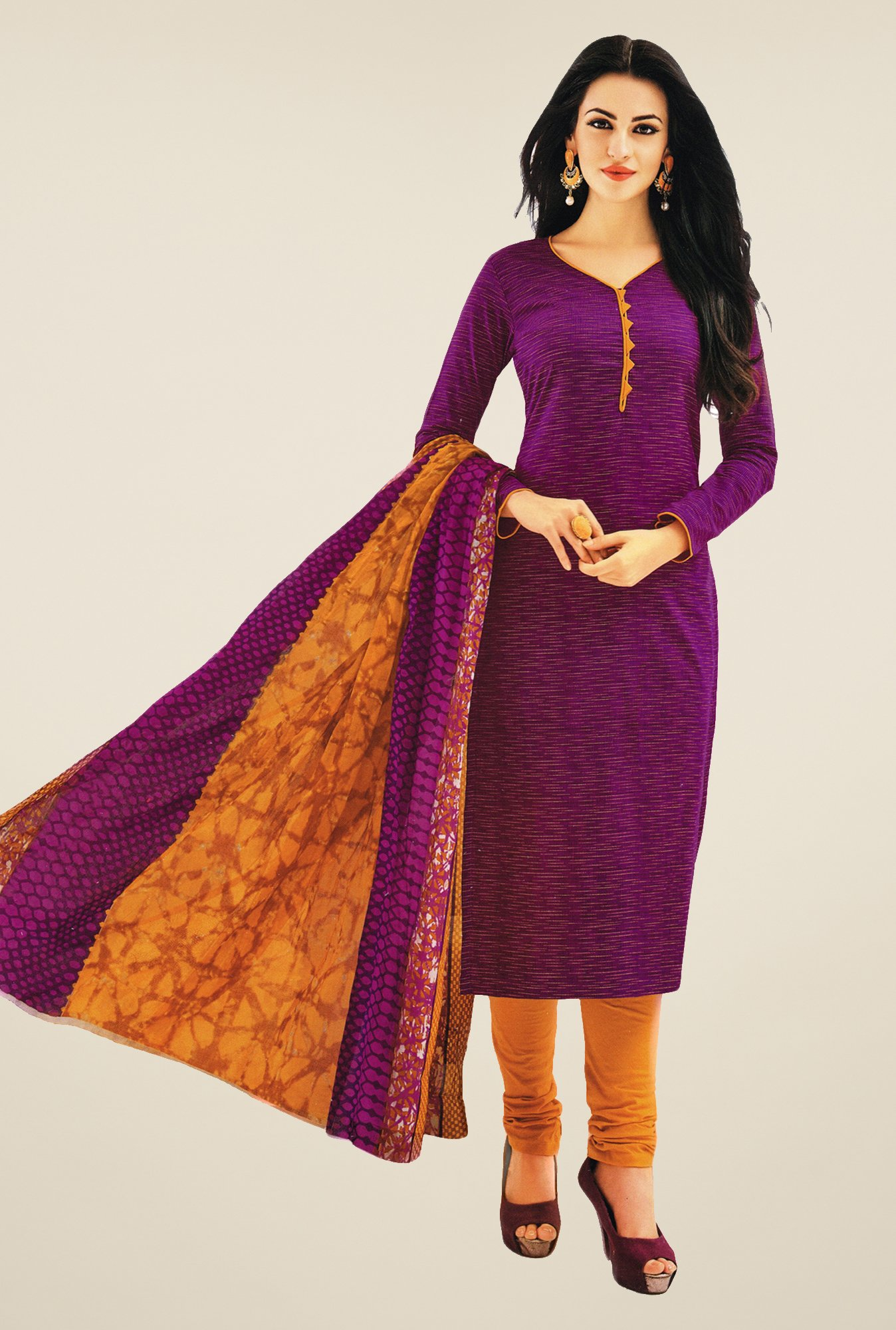 Salwar Studio Wine & Mustard Printed Dress Material