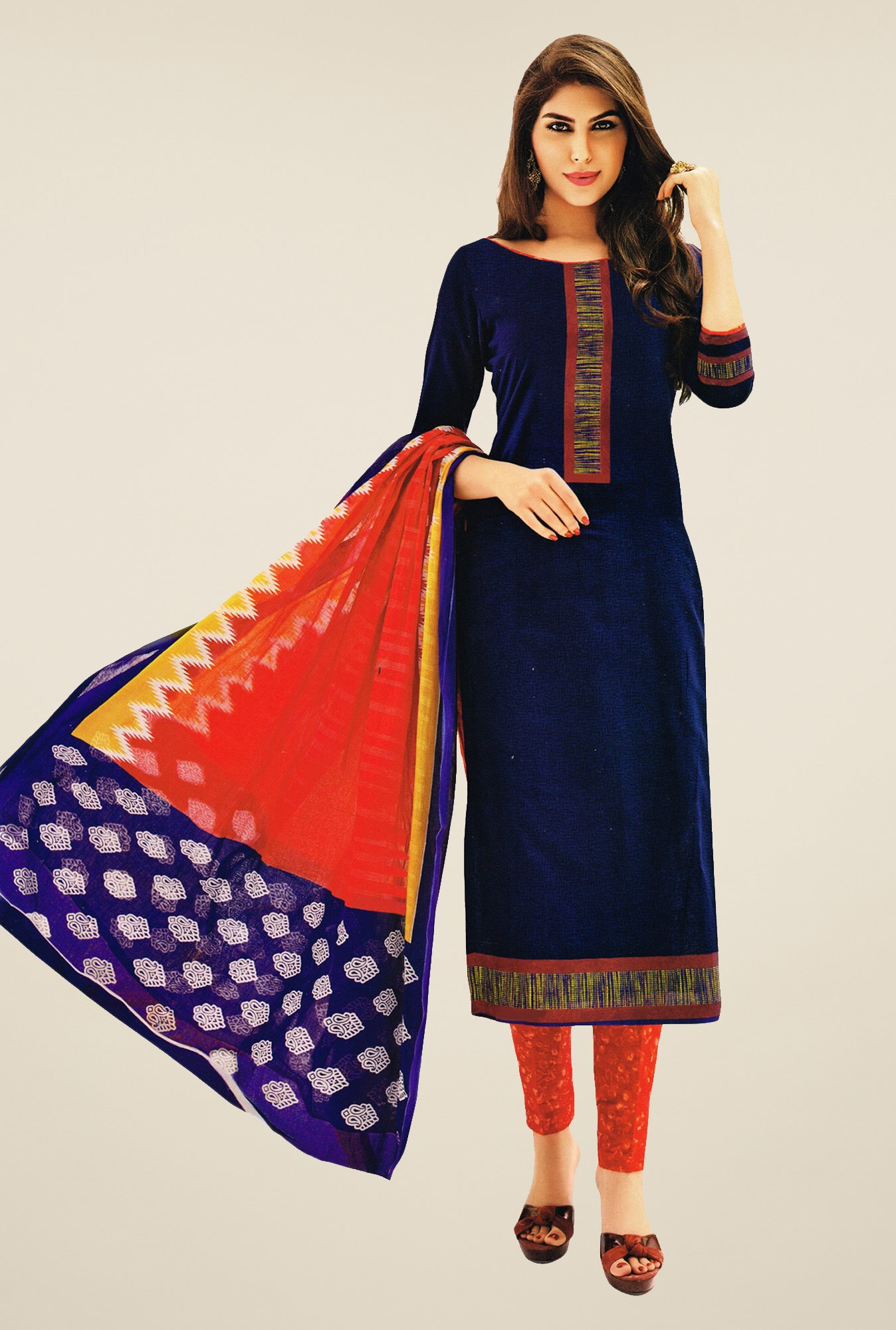 Salwar Studio Dark Blue & Red Printed Dress Material