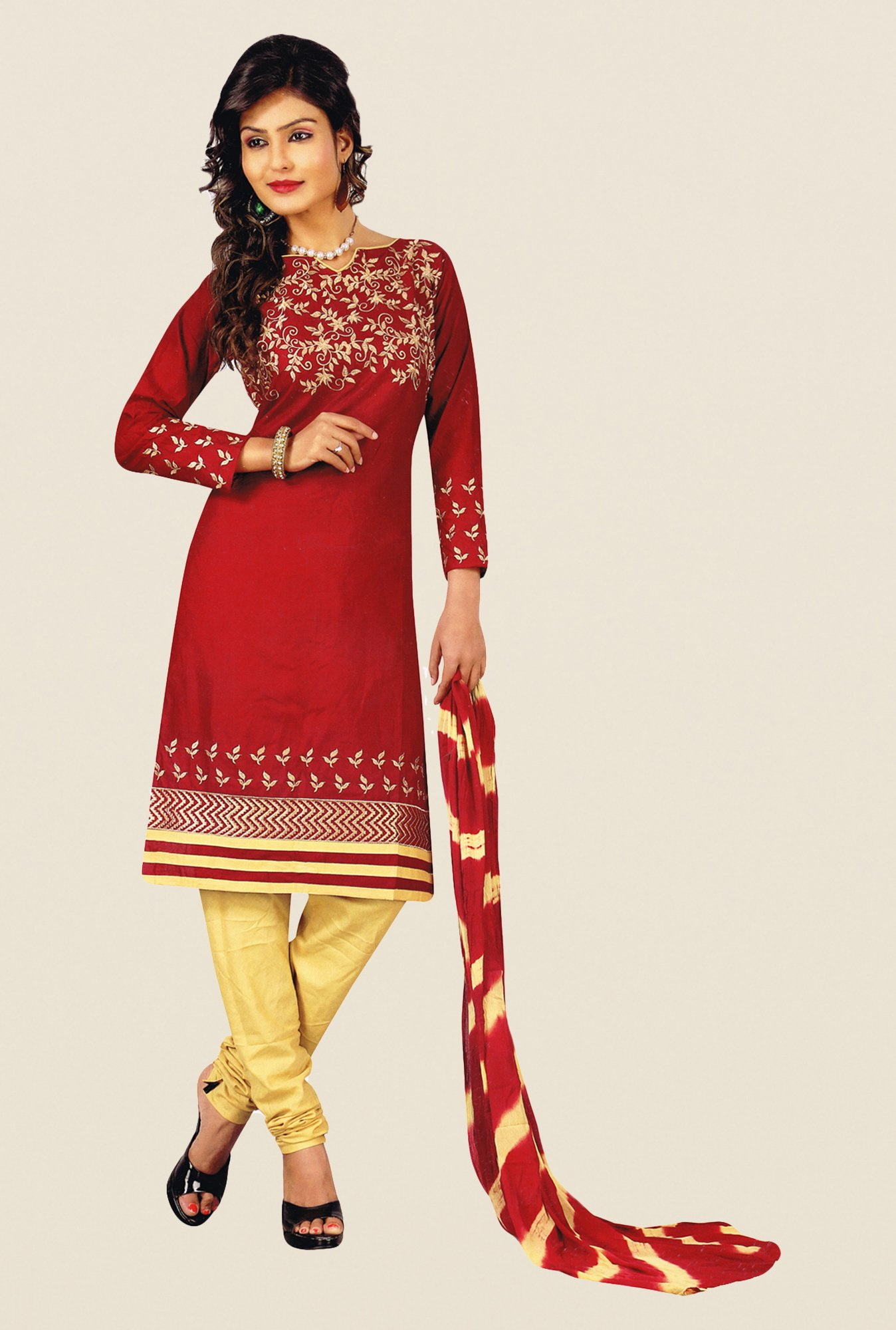 Salwar Studio Maroon & Beige Cotton PC Dress Material