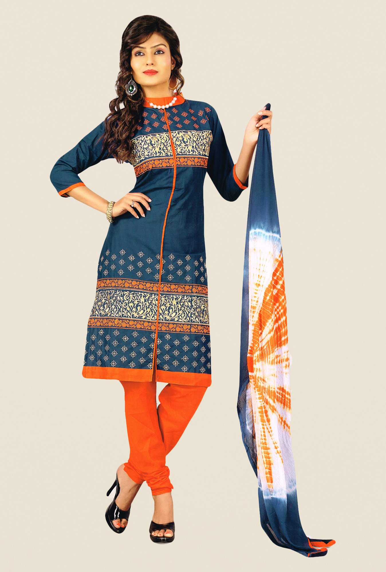 Salwar Studio Ash Grey & Orange Embroidered Dress Material