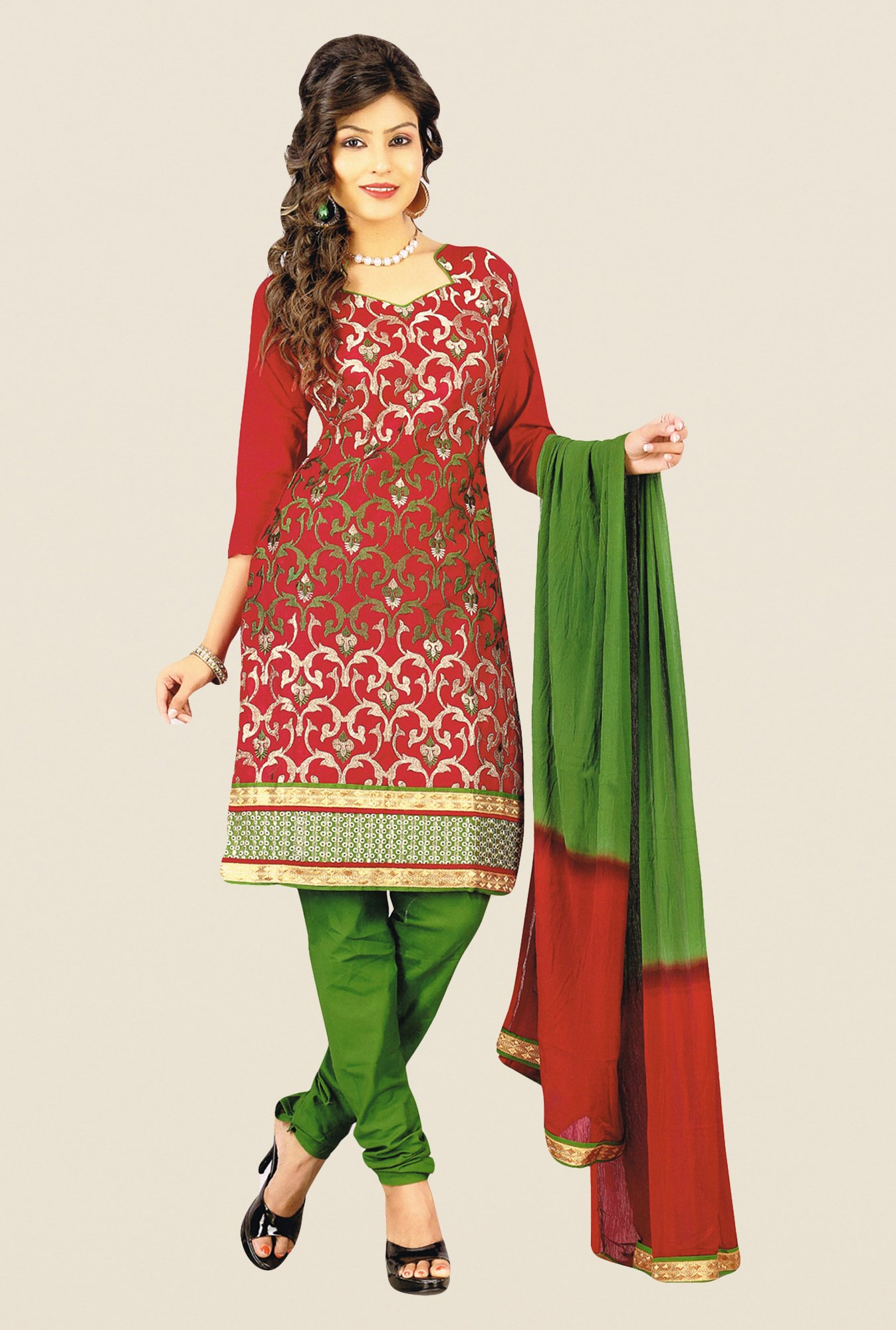 Salwar Studio Maroon & Green Embroidered Dress Material