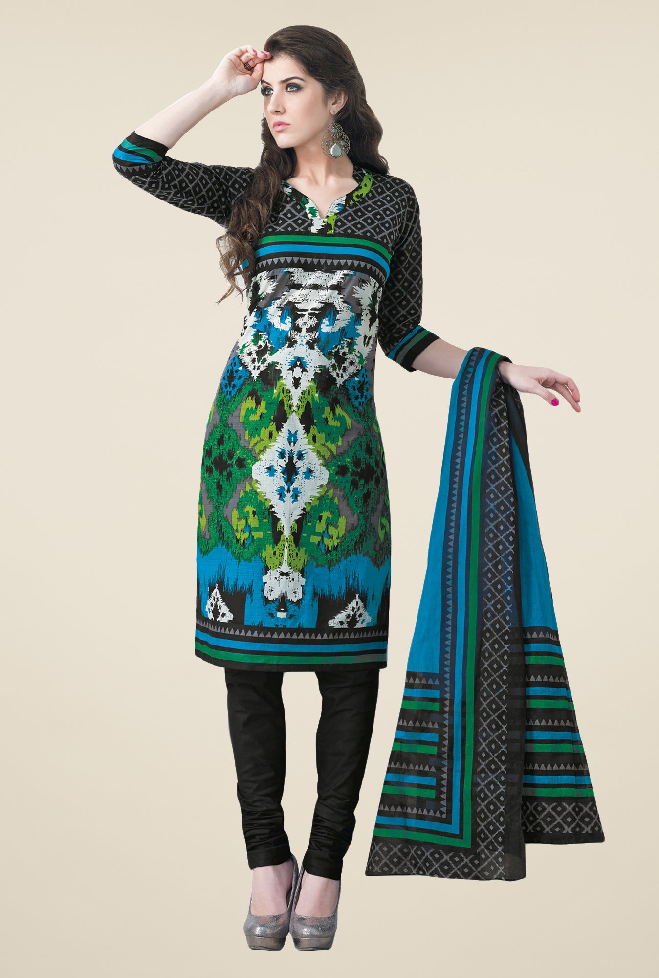 Salwar Studio Multicolor & Black Dress Material