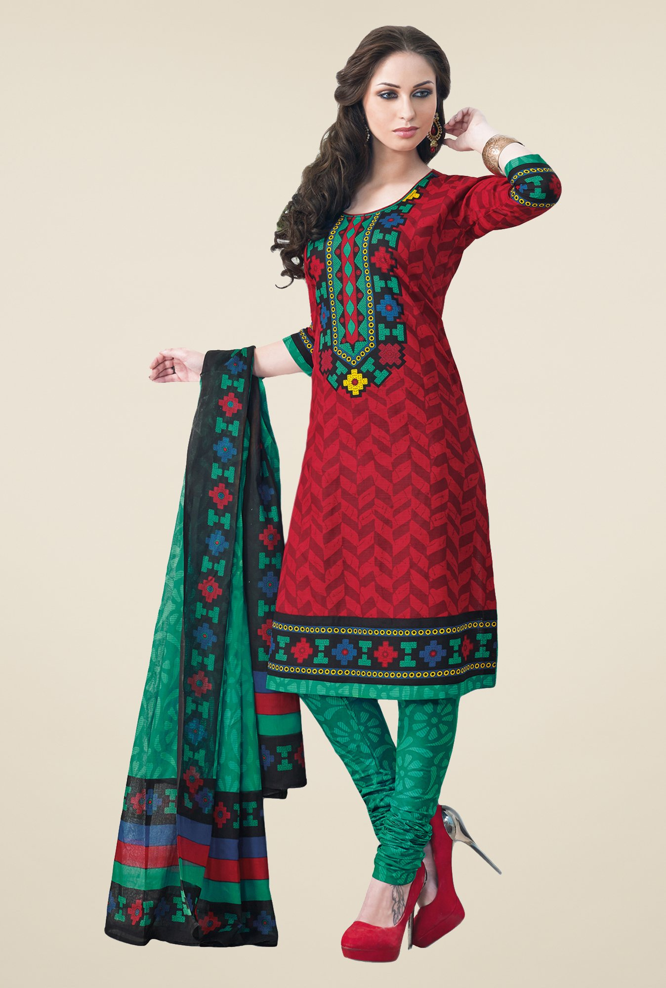 Salwar Studio Maroon & Teal Dress Material